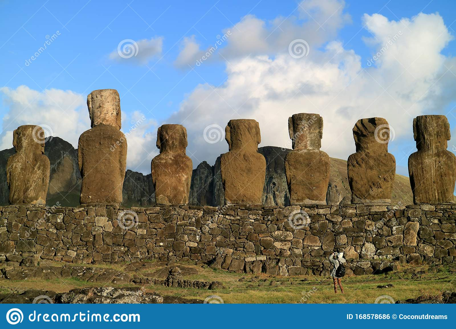 Amazing View Of The Back Of 15 Huge Moai Statues Of Ahu