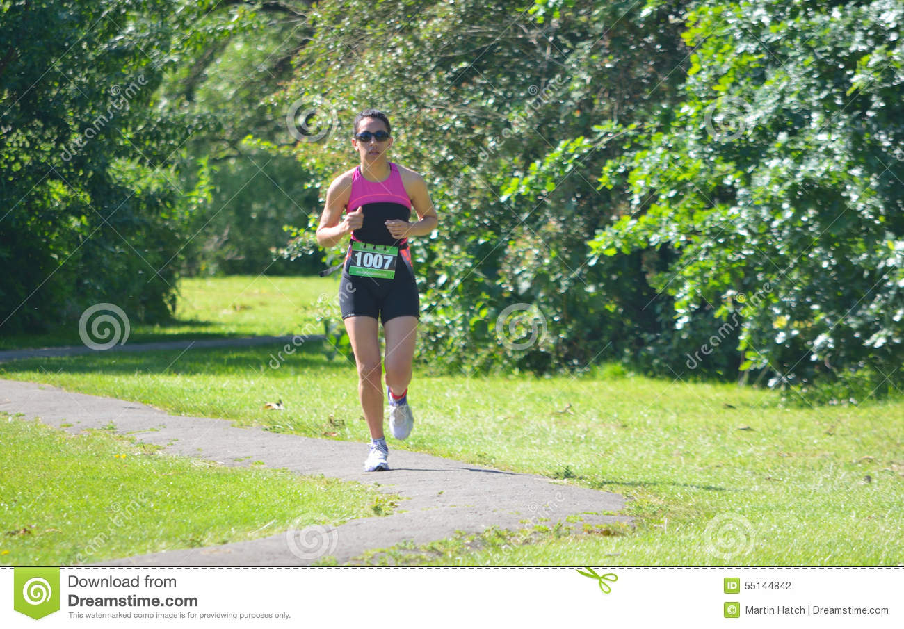 Female Triathlon Runner In Park Editorial Photography Image 55144842