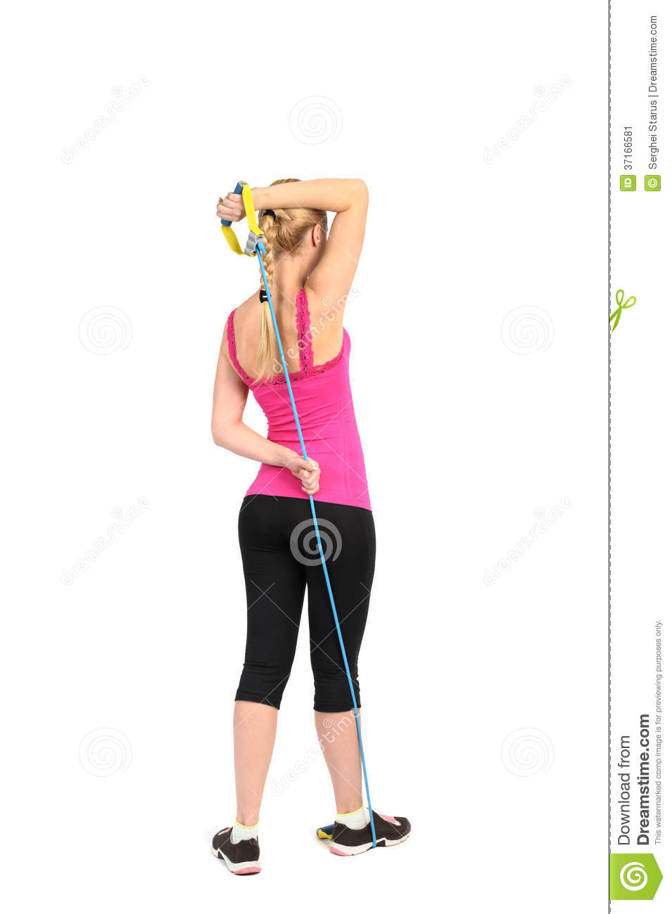 Female Triceps Extention Exercise Using Rubber Resistance