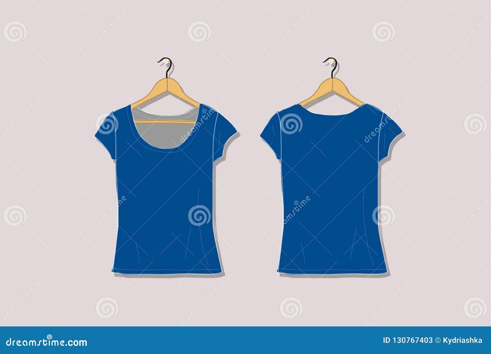 Female Tshirt Mockup White For Your Design Stock Vector