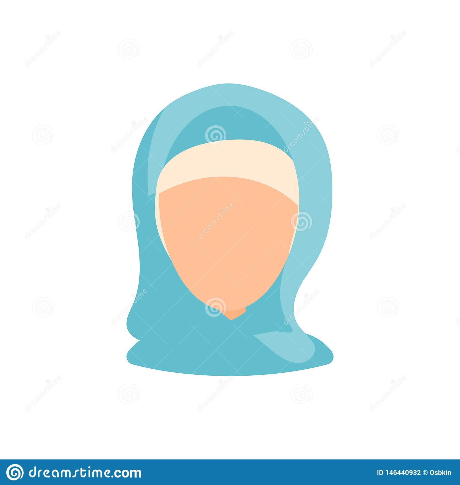 Female user avatar profile picture icon. Isolated vector illustration in flat design people character. Muslim woman
