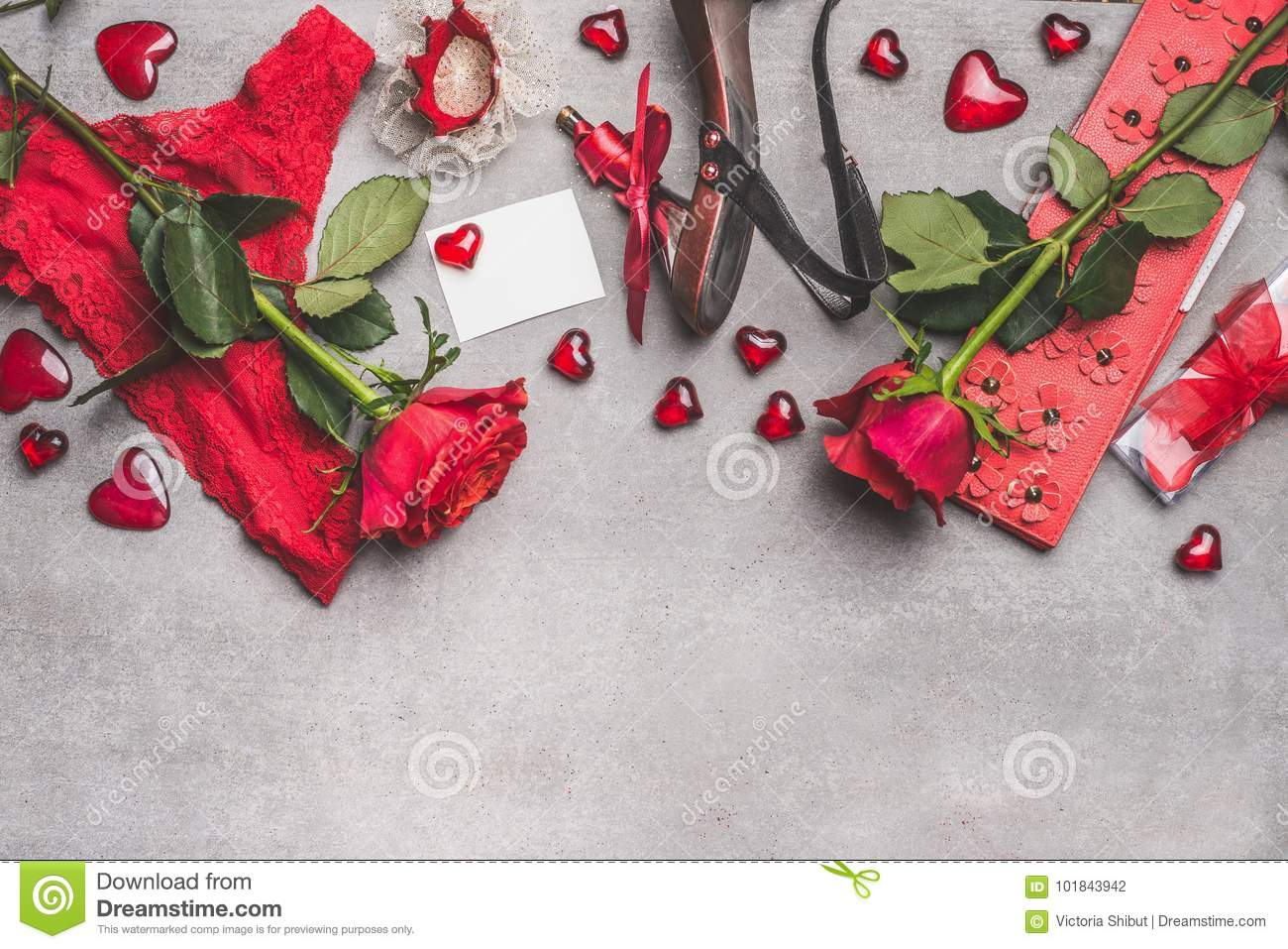 Female Valentines Day Or Dating Accessories In Red Color: Shoes ...