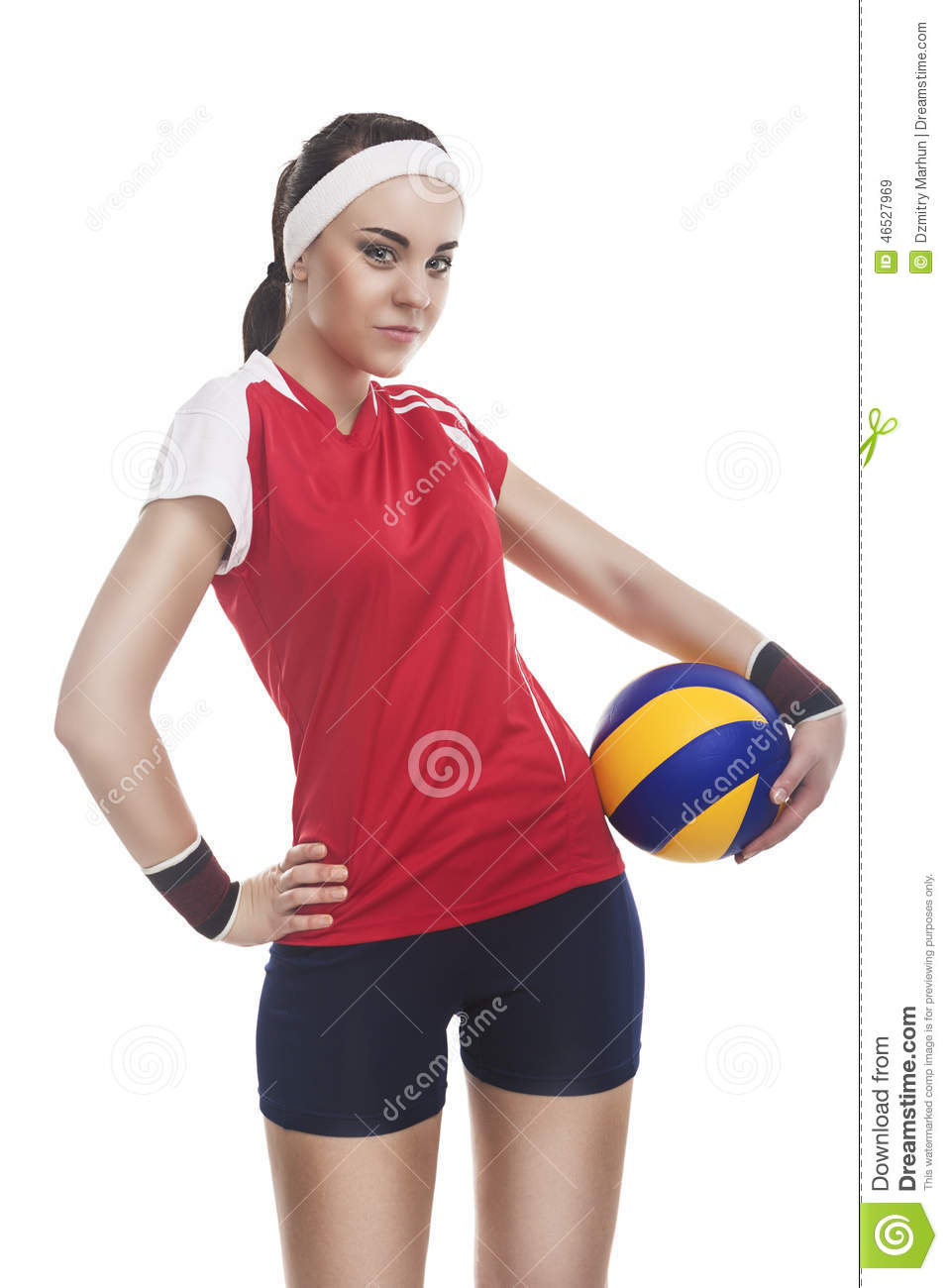Female Volleyball Athlete Equipped In Modern Sport Outfit Smilin Stock Photo - Image 46527969