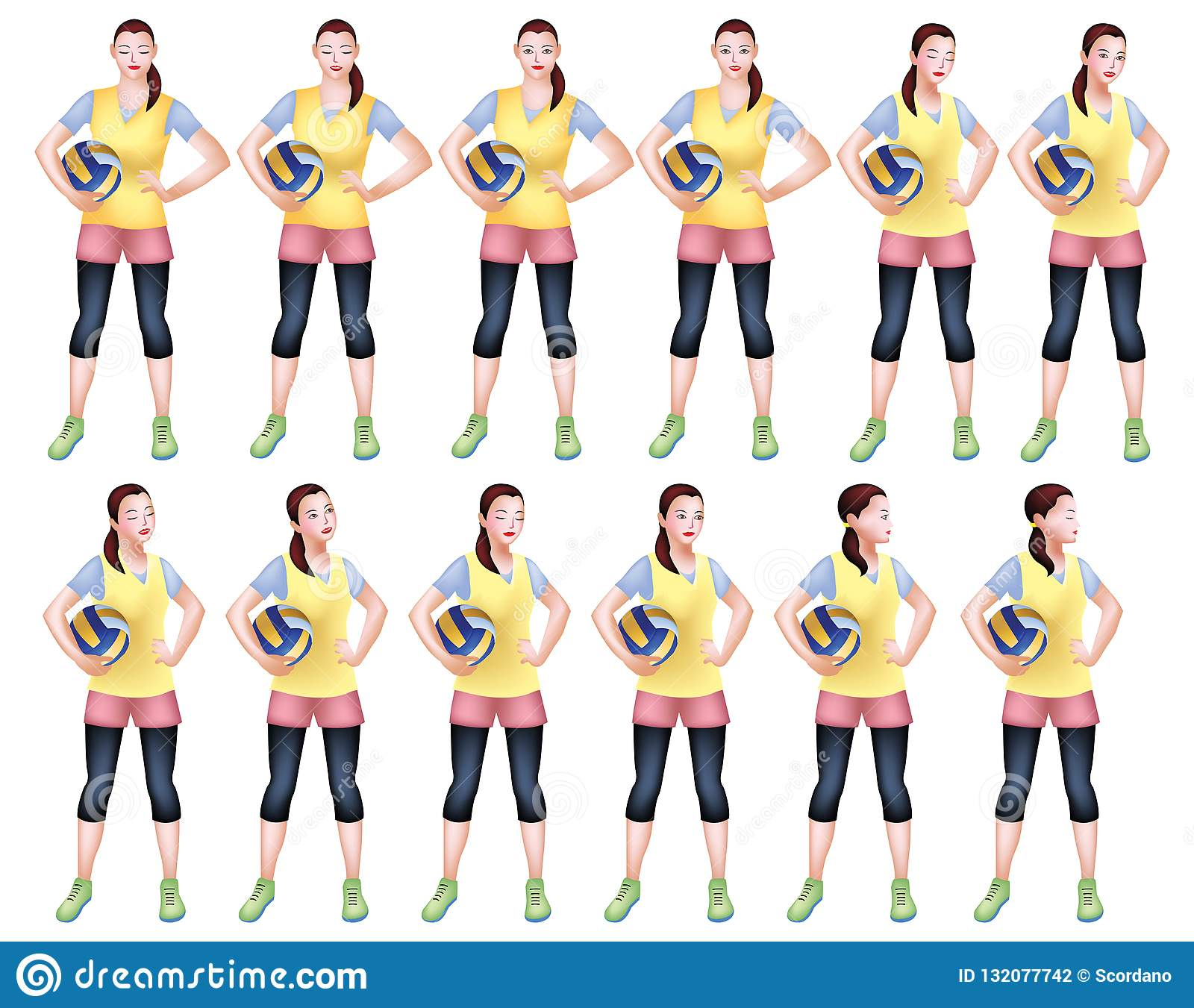 Volleyball Player In Yellow Sports Attire Stock Illustration Illustration Of Posting Sports 132077742