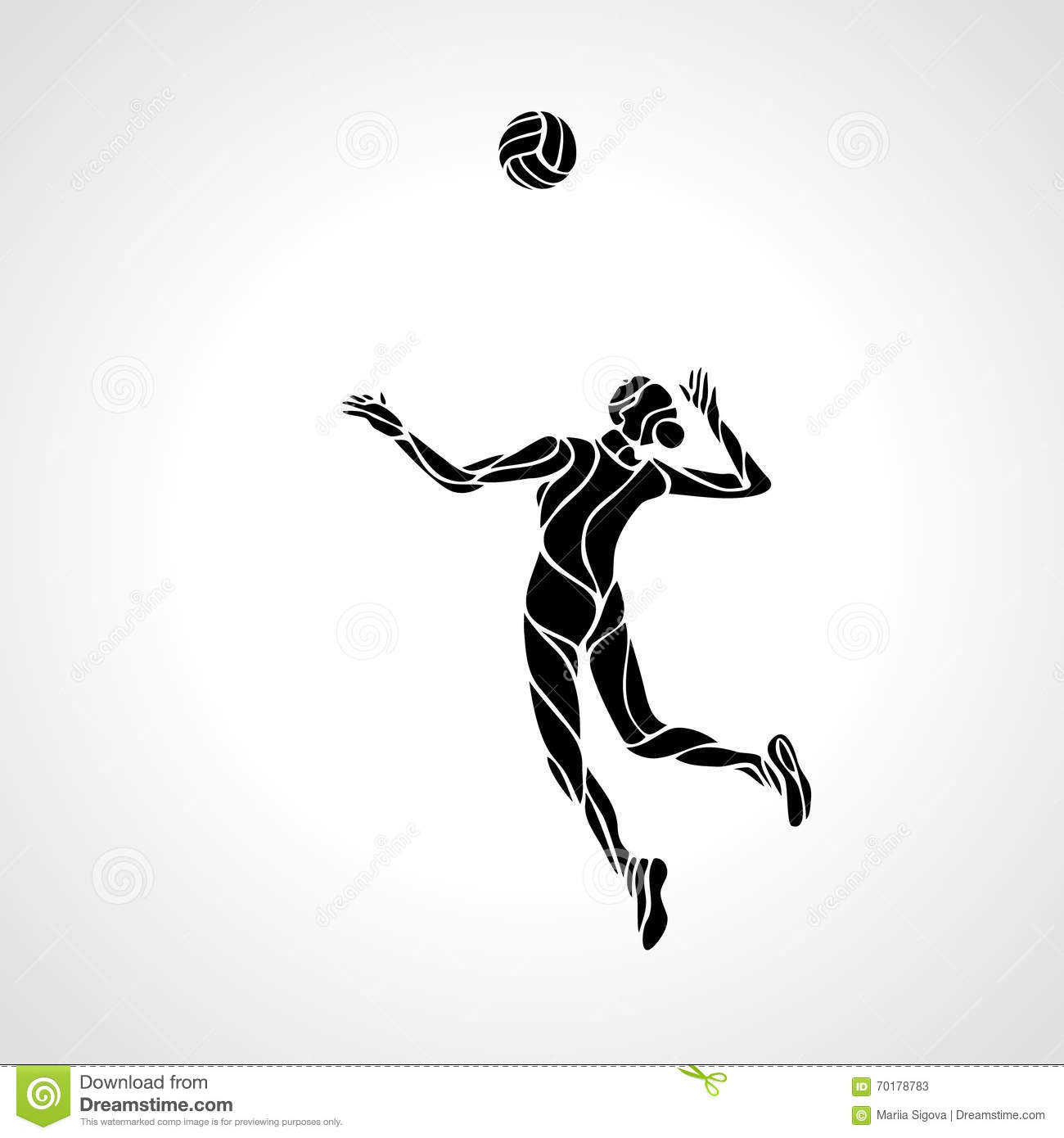 Volleyball player spike silhouette
