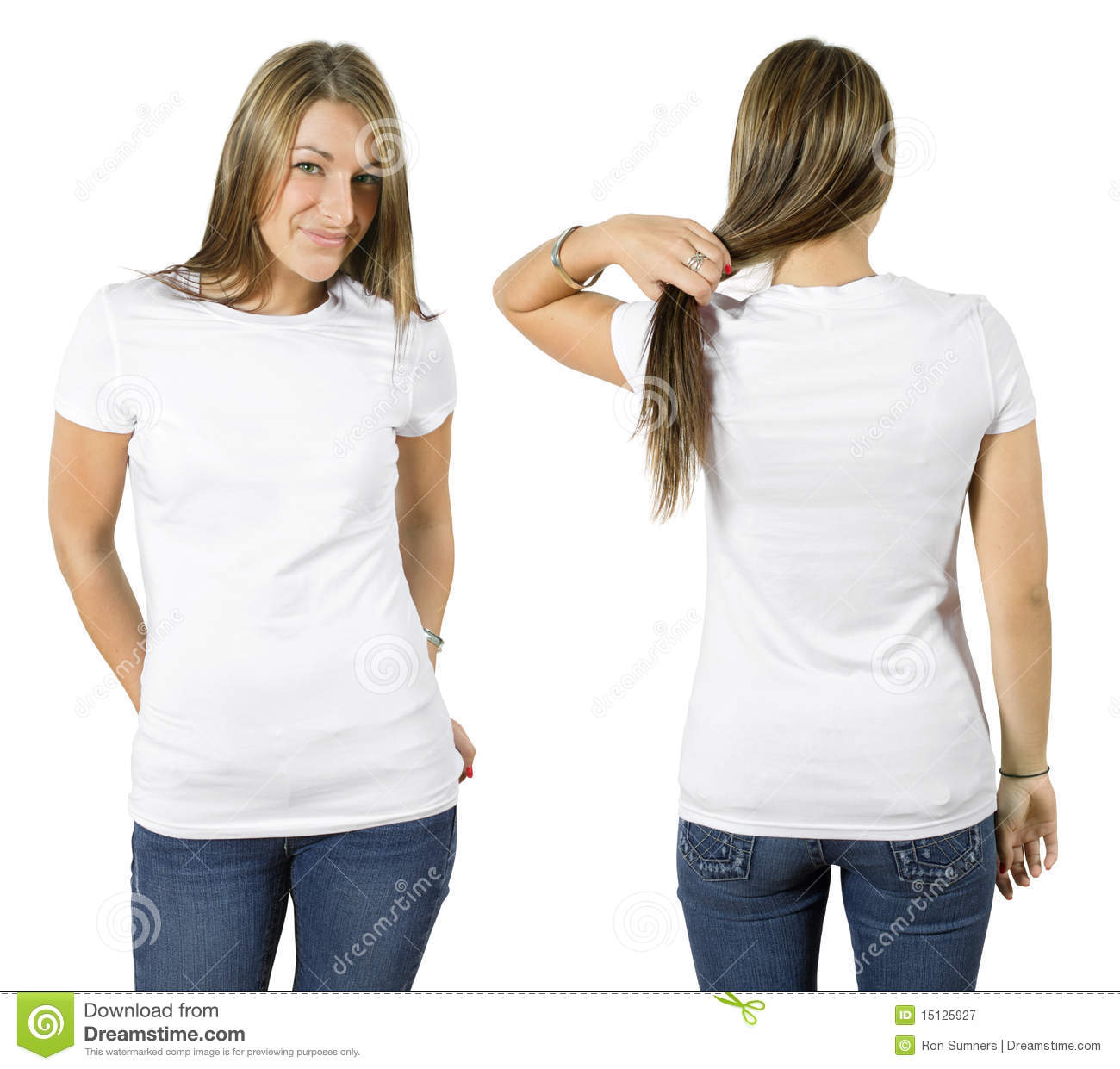 Female Wearing Blank White Shirt Stock Image - Image of attractive ...