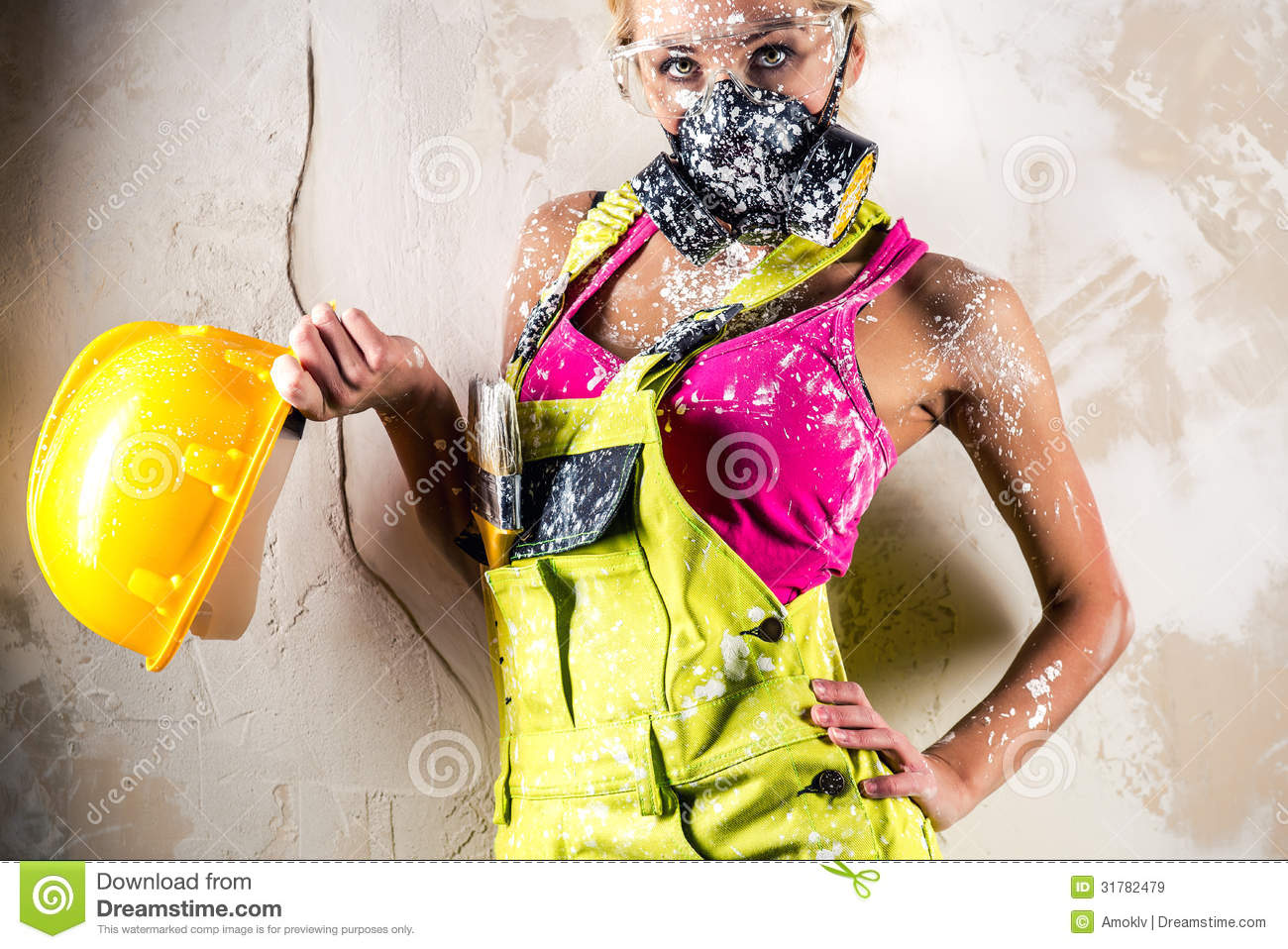 Female Wearing A Respirator Posing Indoors Royalty Free Stock Images ...
