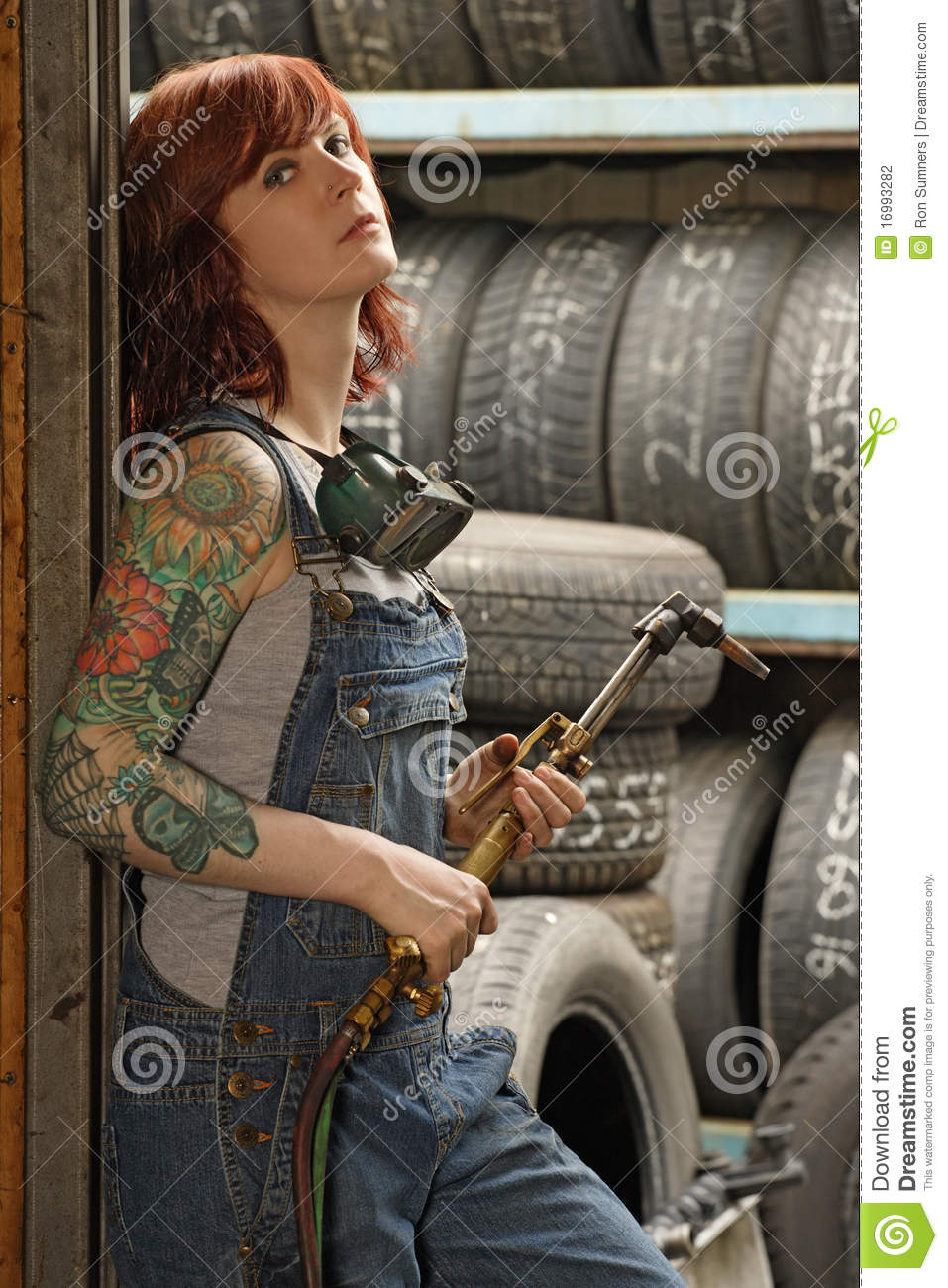 Female Welder With Tattoos Stock Photo Image Of Tattoo
