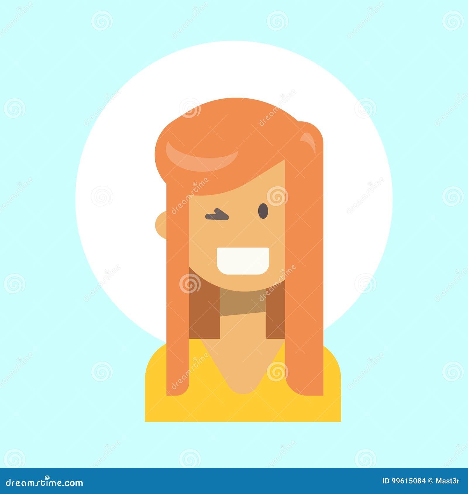Female Winking Emotion Profile Icon Woman Cartoon Portrait Happy