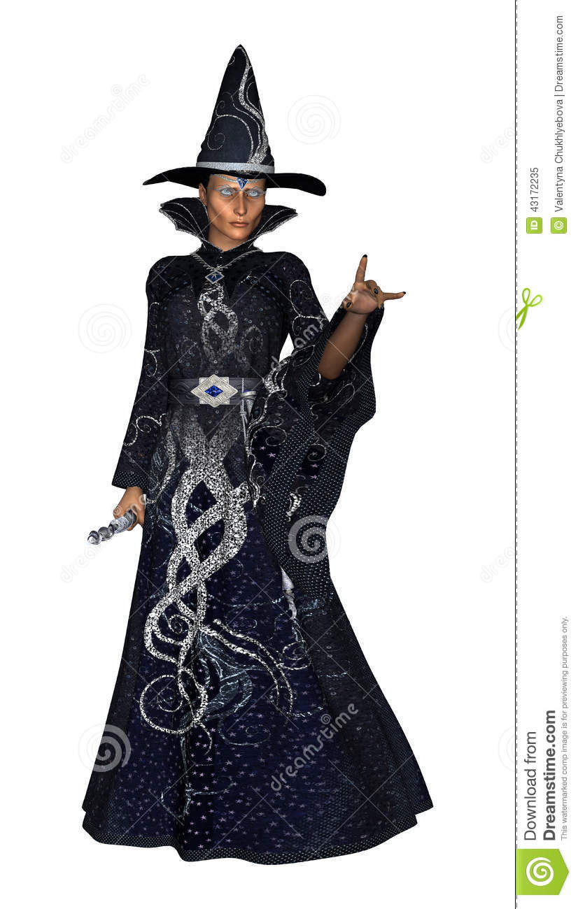 3D digital render of a fantasy female wizard in a dark blue sparkling ...