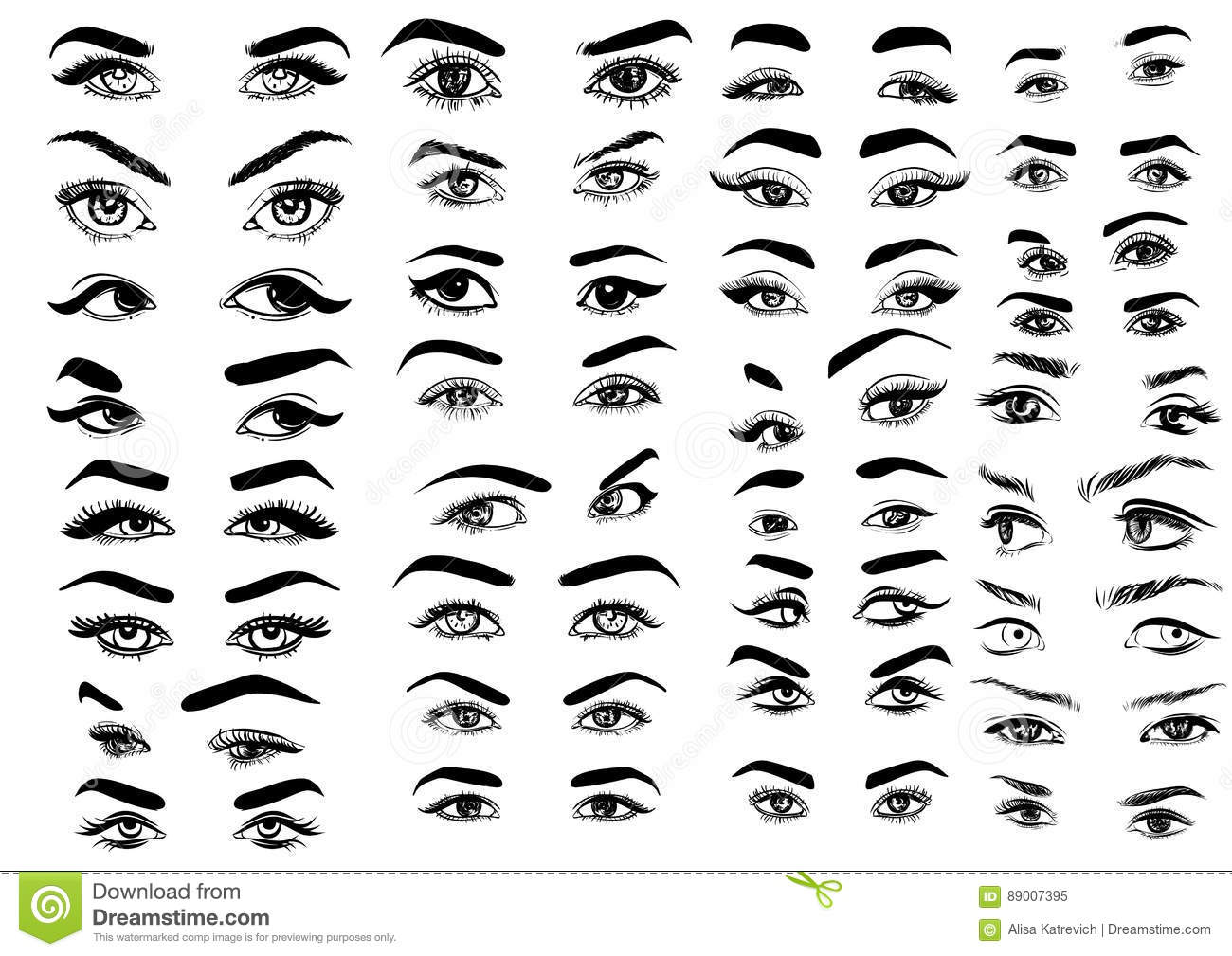 Female woman eyes and brows image collection set fashion girl eyes design vector illustration