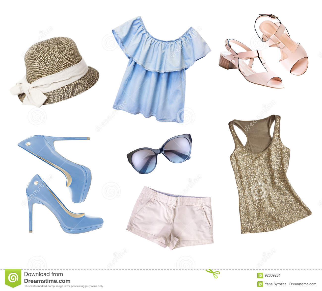 59e3bd24636 Female Women Clothes Collage Set Isolated. Stock Image - Image of ...