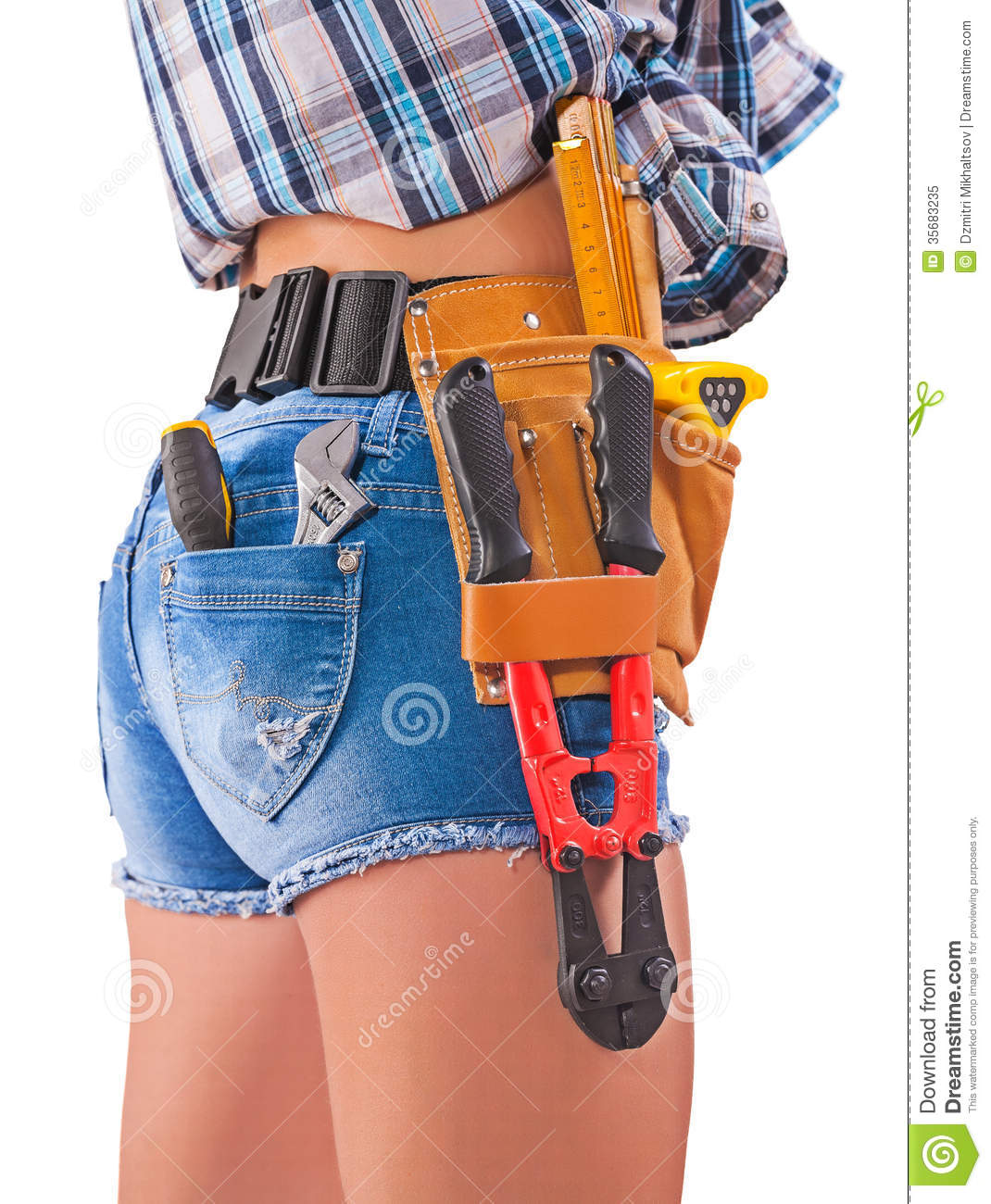 Female Worker Tools In Back Pockets And Tool Belt Close
