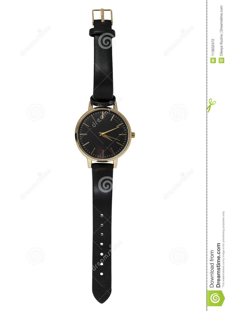 Female wrist watch in gold case and black leather strap