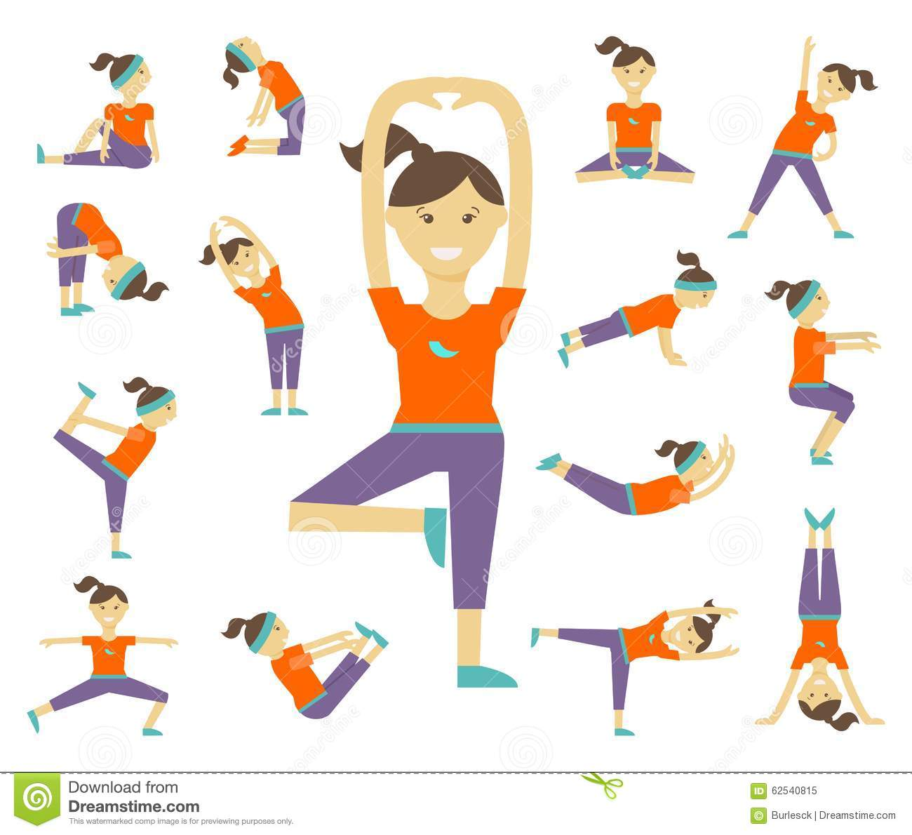 Female Yoga Poses Stock Vector Illustration Of Concept