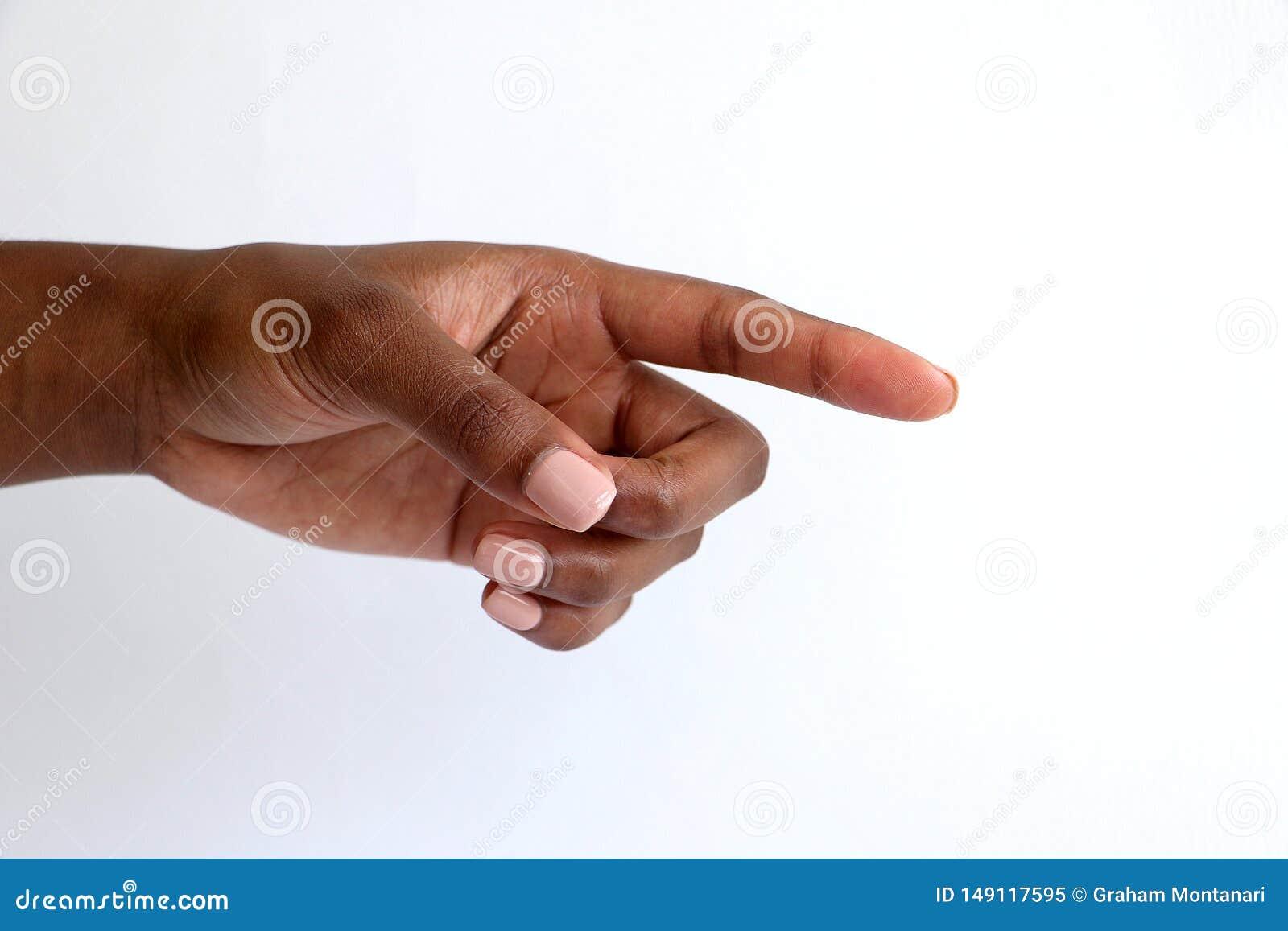 Femelle, pointage indien de main d africain noir