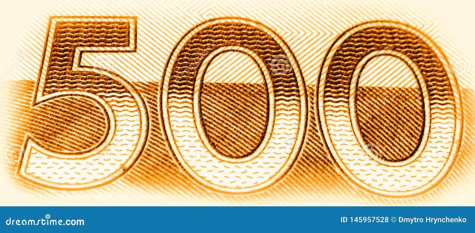 Femhundra nummer 500 Makroslut upp av guld- texturerade diagram som att klassa symbolbanret