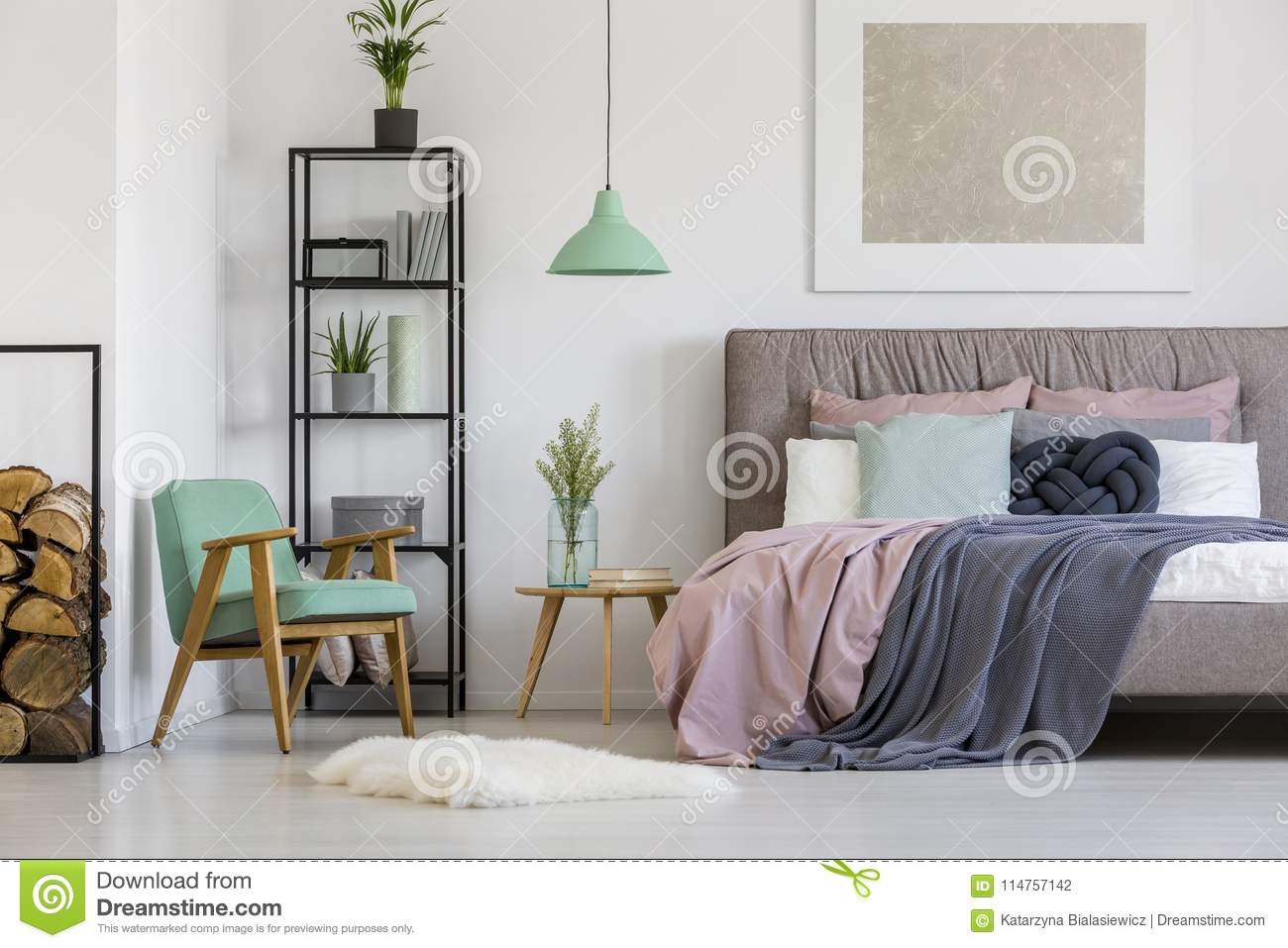 Feminine Bedroom With Vintage Furniture Stock Photo - Image of ...