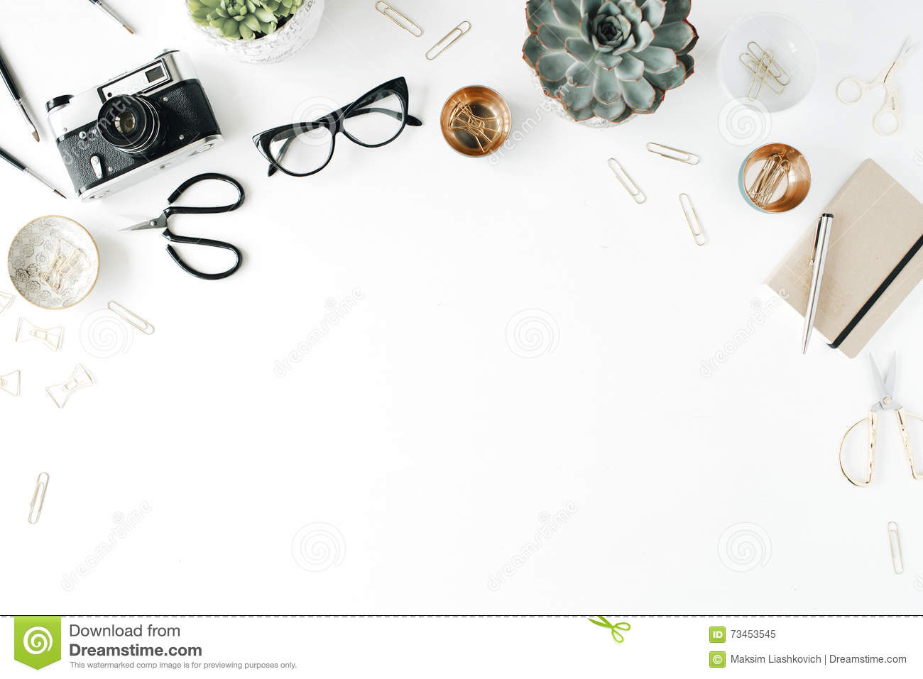 Feminine desk workspace with succulent, retro camera, scissors, diary, glasses and golden clips