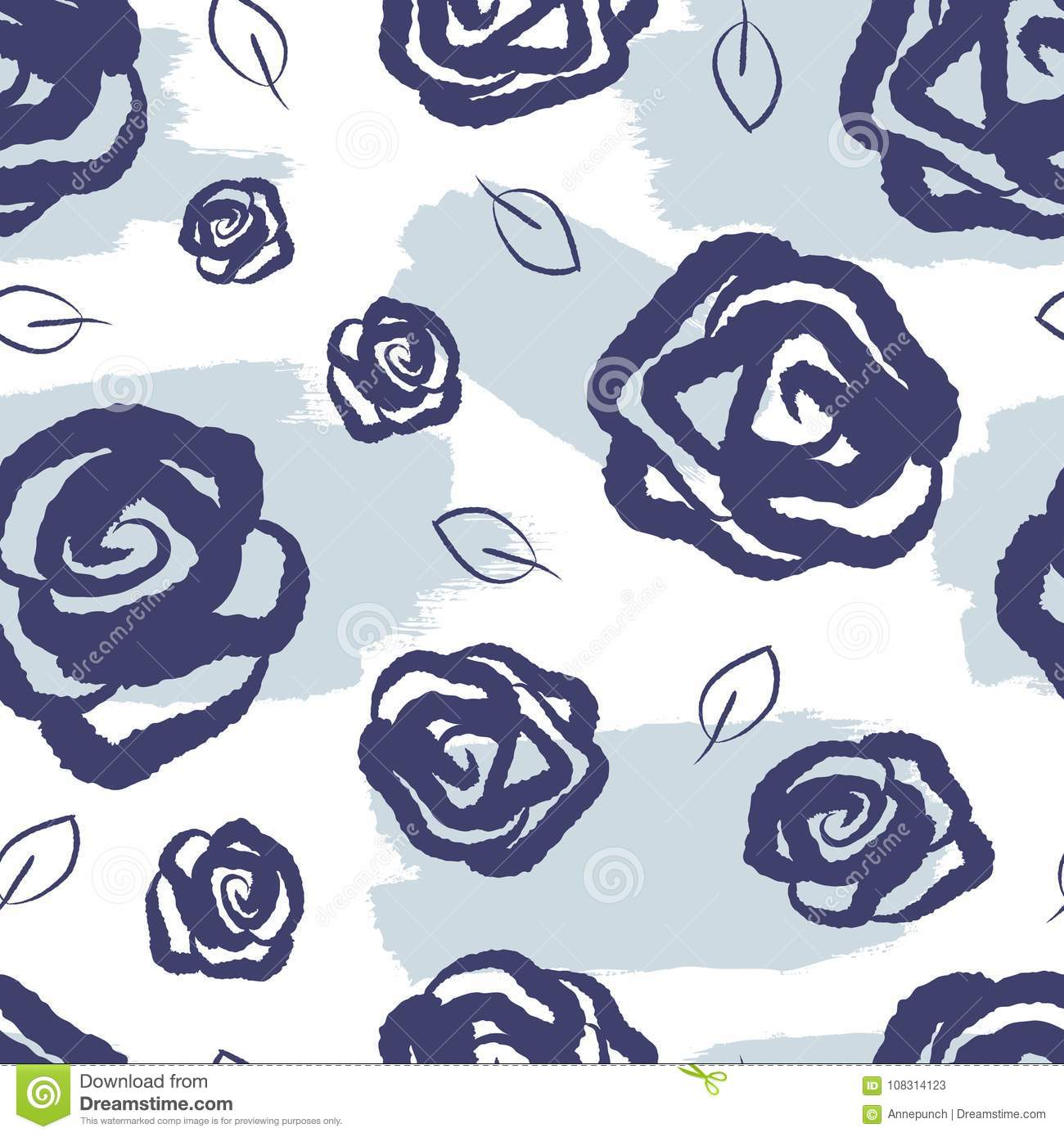 Feminine floral seamless pattern. Watercolor stains, roses and leaves drawn by hand.