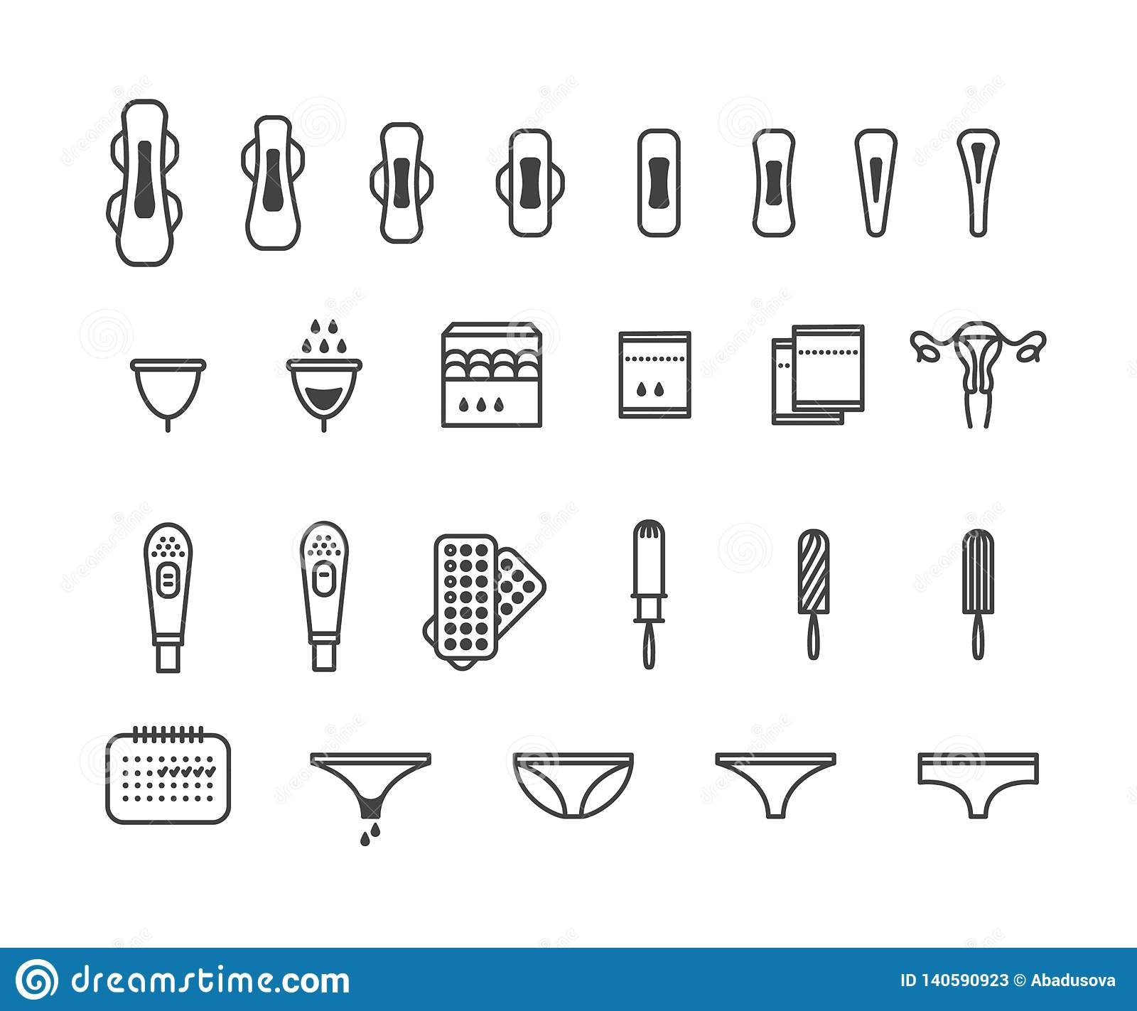 Feminine hygiene products - sanitary pad, pantyliner, tampon, menstrual cup icons