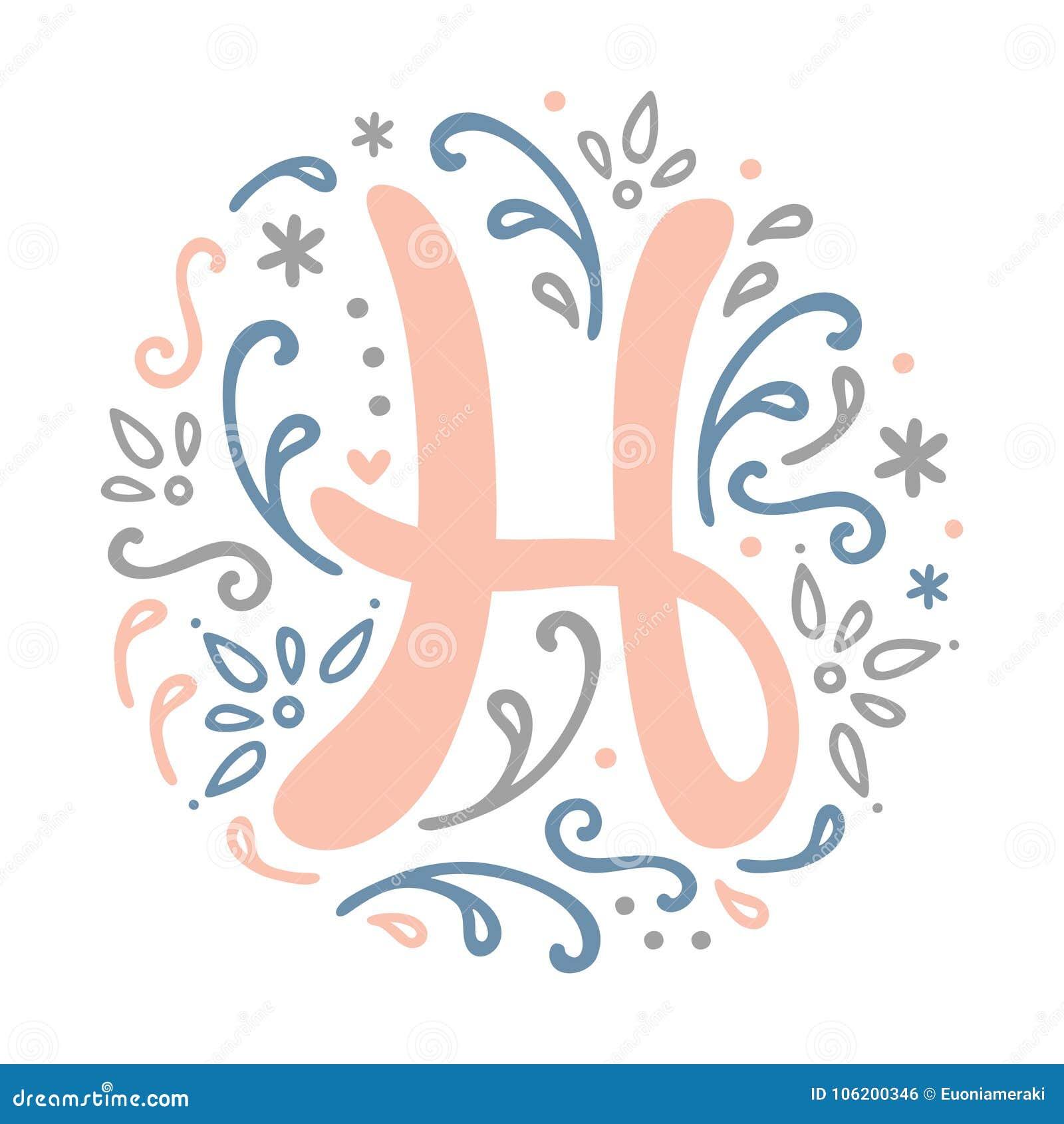 39d5801a234 feminine monogram design h letter alphabet art nouveau style .