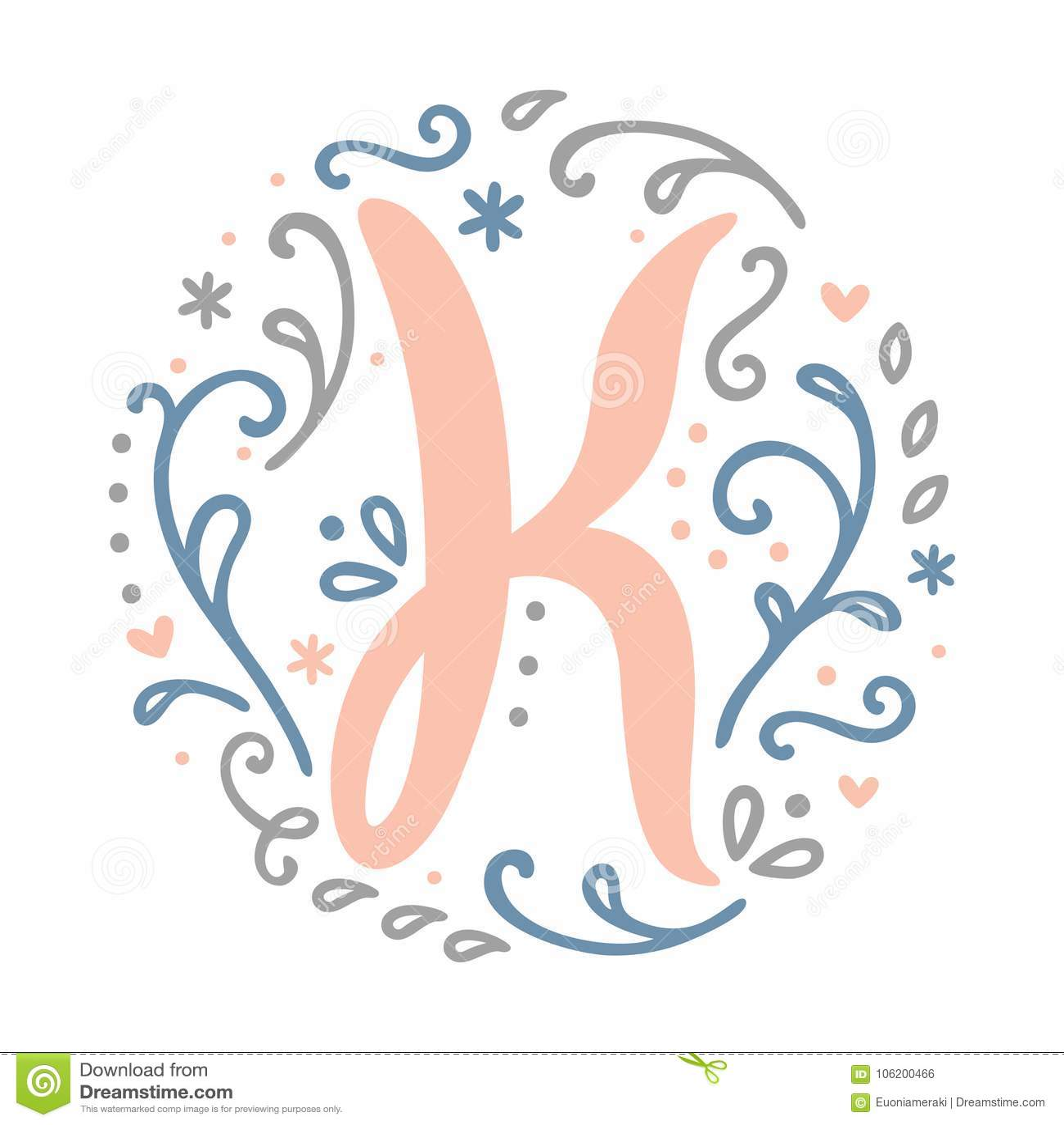 Feminine Monogram Design ` K ` Letter Alphabet   Art Nouveau Style