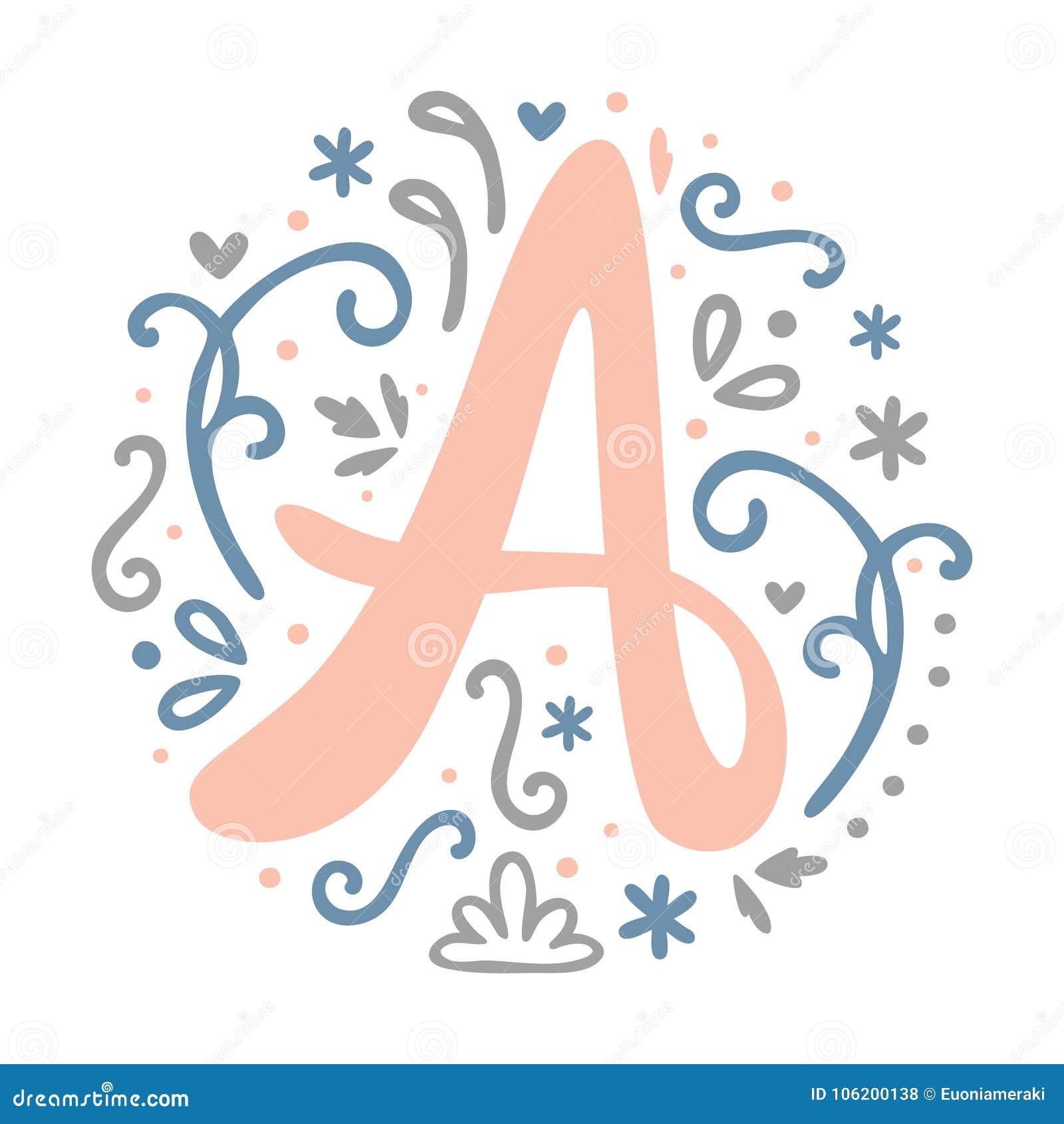 Feminine Monogram Design ` A ` Letter Alphabet   Art Nouveau Style