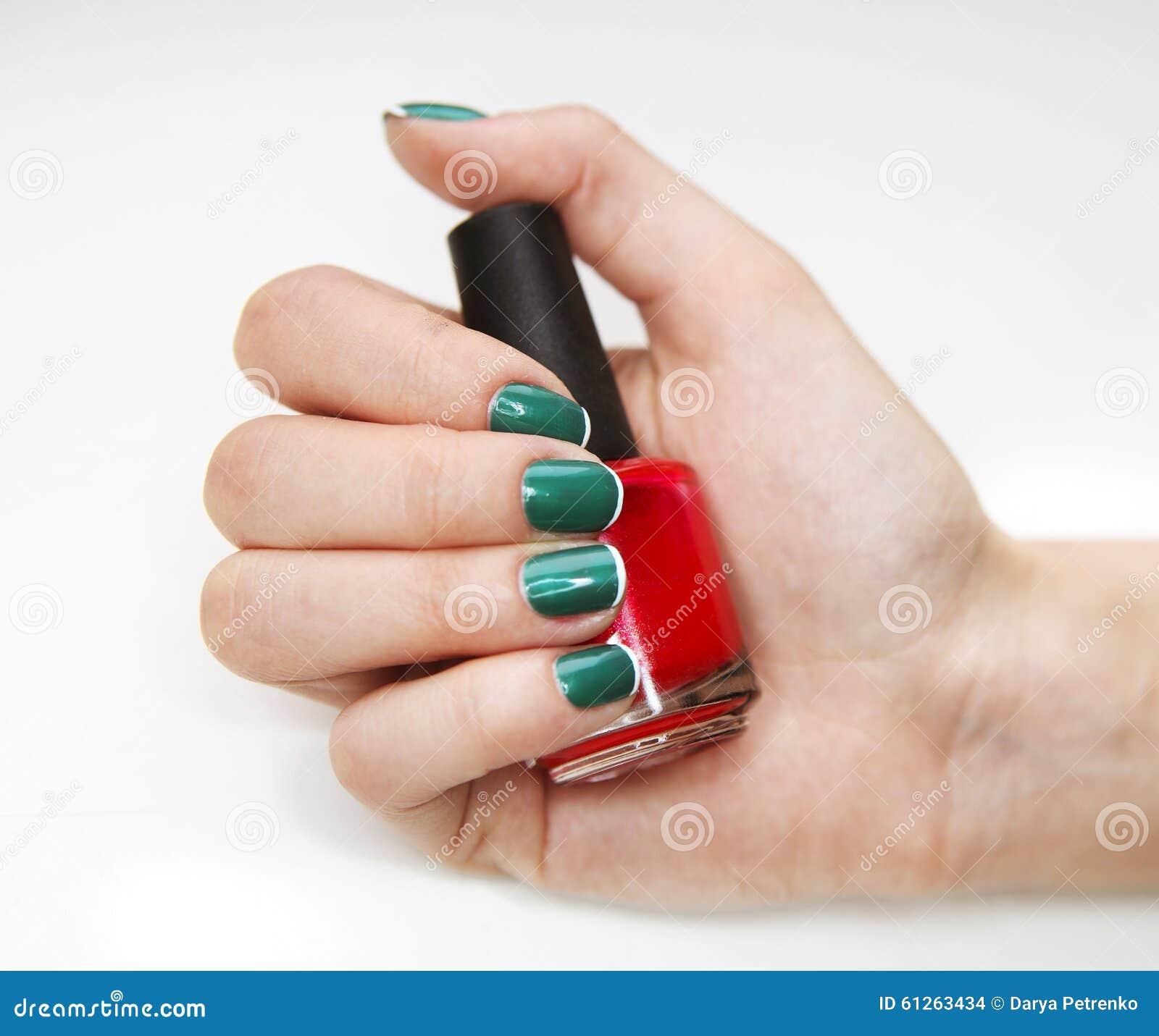Feminine Nail Art With Nice Glitter Green And White Nail Polish