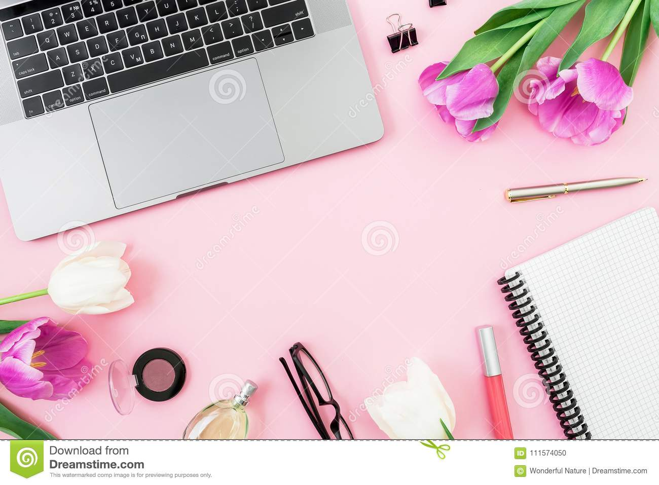 Feminine Office Desk With Laptop Tulip Flowers Cosmetics Glasses - Best of flower powerpoint background concept