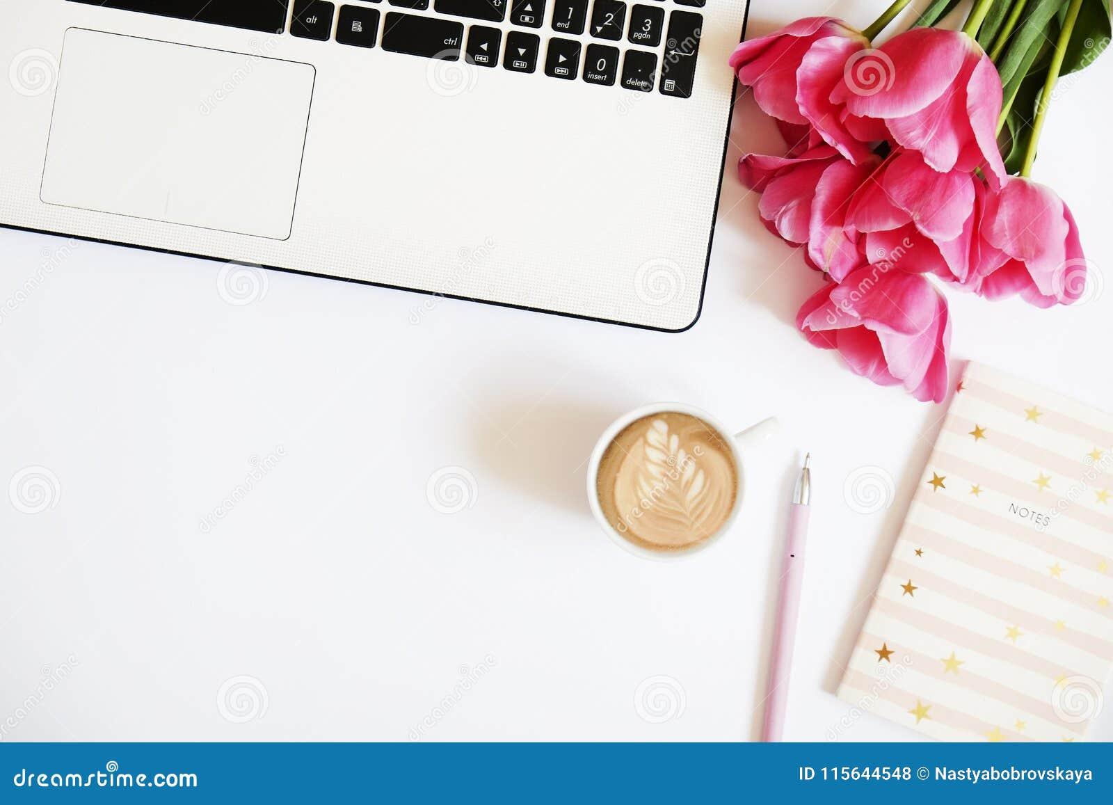Lovely Feminine Office  Desktop Black White Laptop Keyboard Pink Tulip Flowers Bouquet Cup Coffee W Latte Art Pen Notebook 115644548