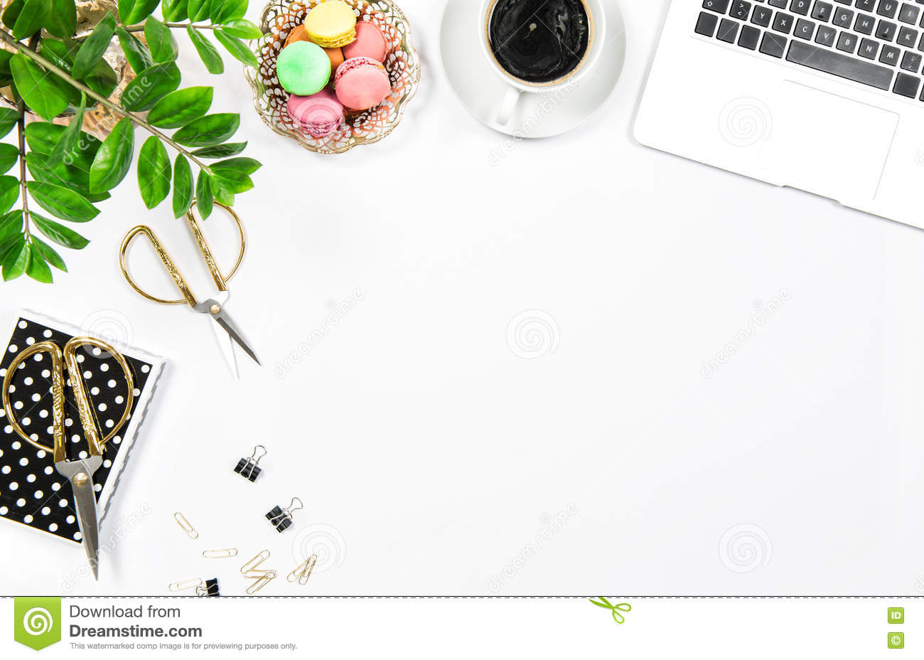 Feminine Office Table Coffee Cookies Laptop Computer Stock Photo Image Of Drink Feminine