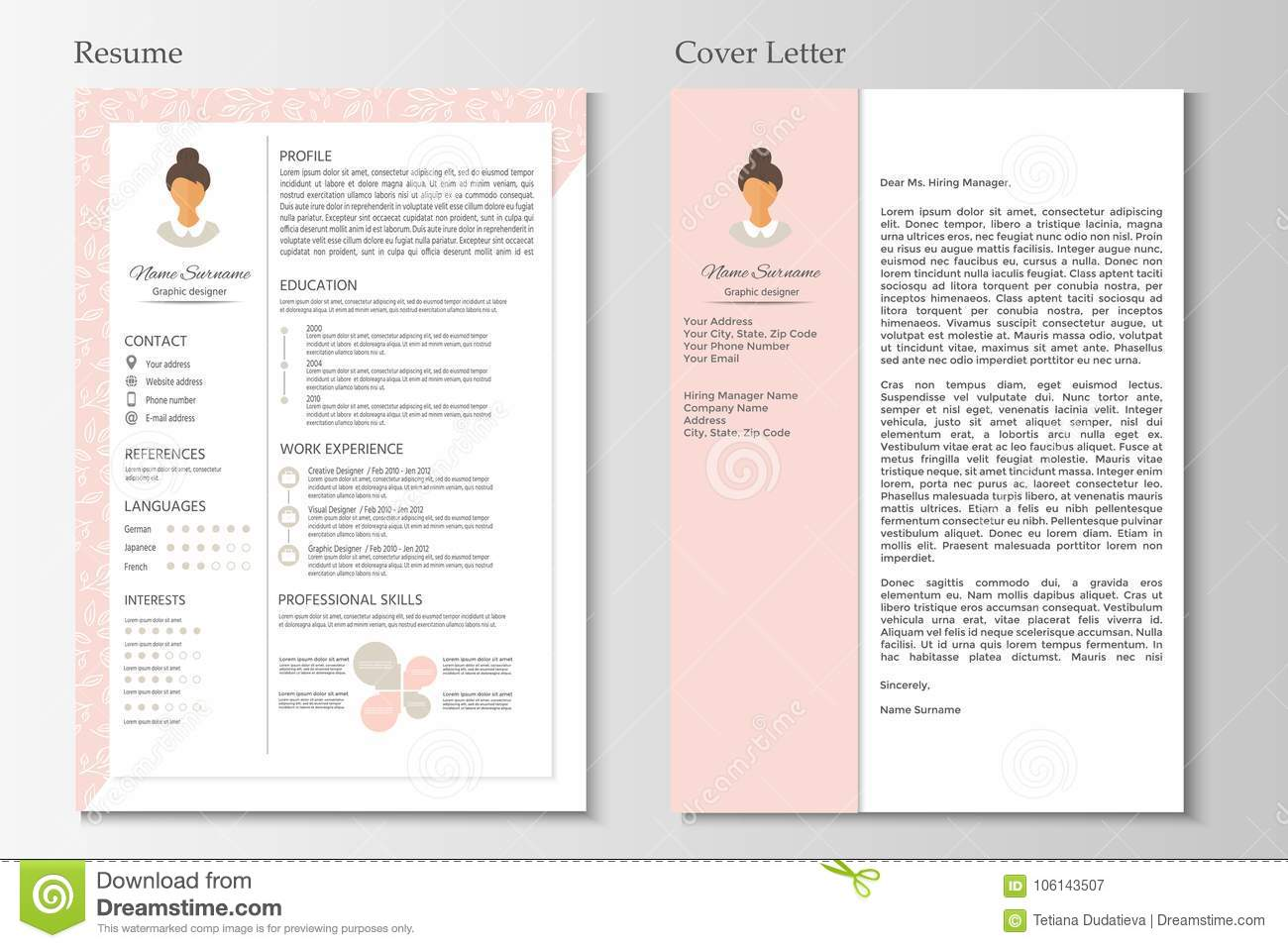 Feminine Resume And Cover Letter With Infographic Design Stock