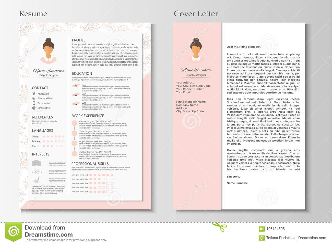 Feminine Resume And Cover Letter With Infographic Design