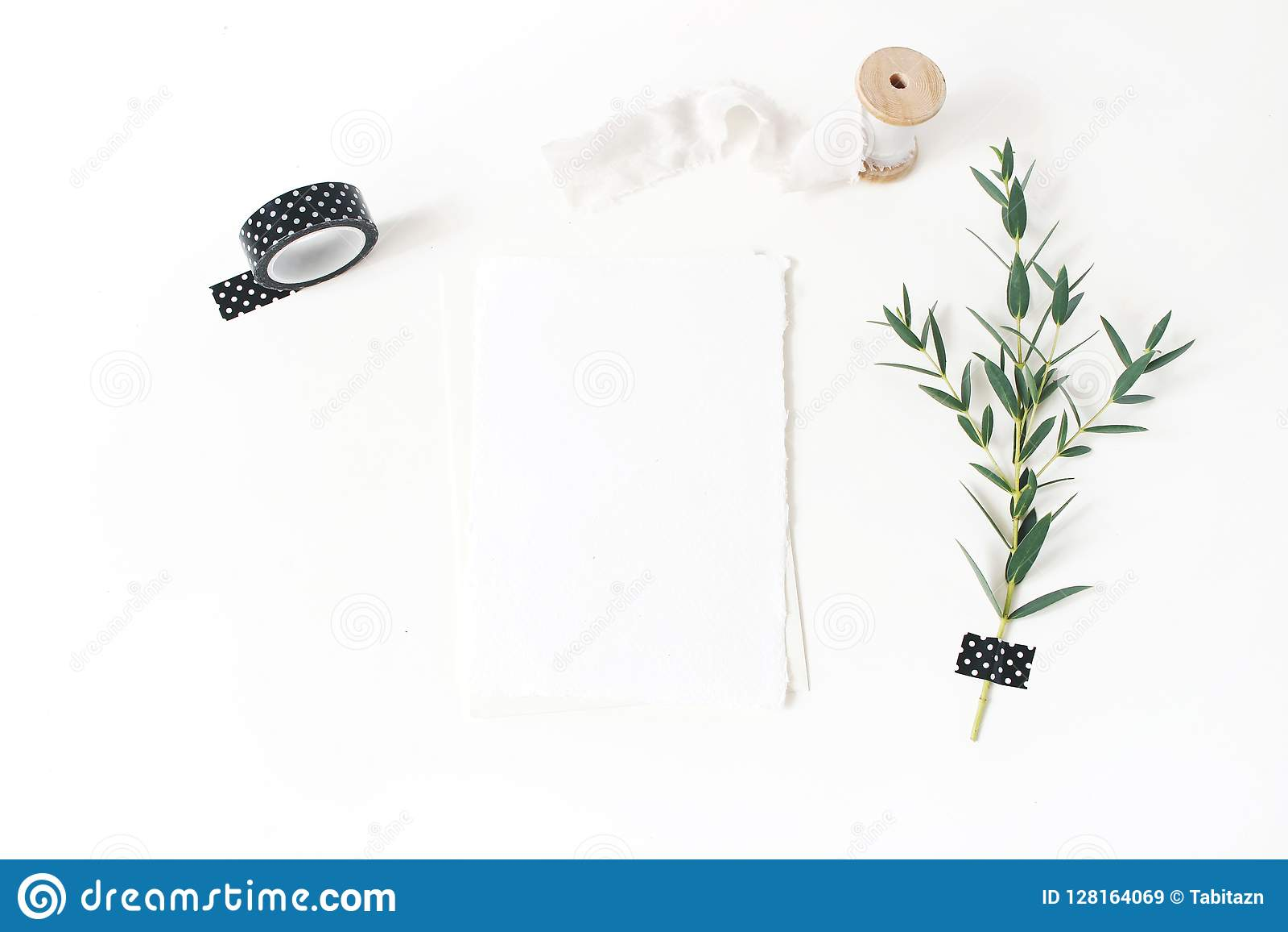 Feminine stationery, wedding desktop mock-up scene. Blank greeting card, envelope,black washi tape, silk ribbon and