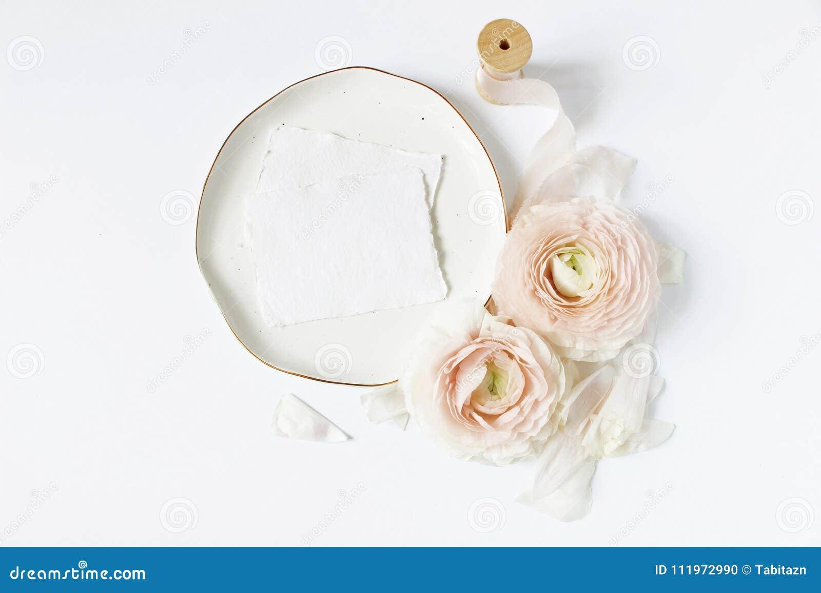 Feminine wedding, birthday desktop mock-up scene. Porcelain plate, blank craft paper greeting cards, silk ribbon, blush