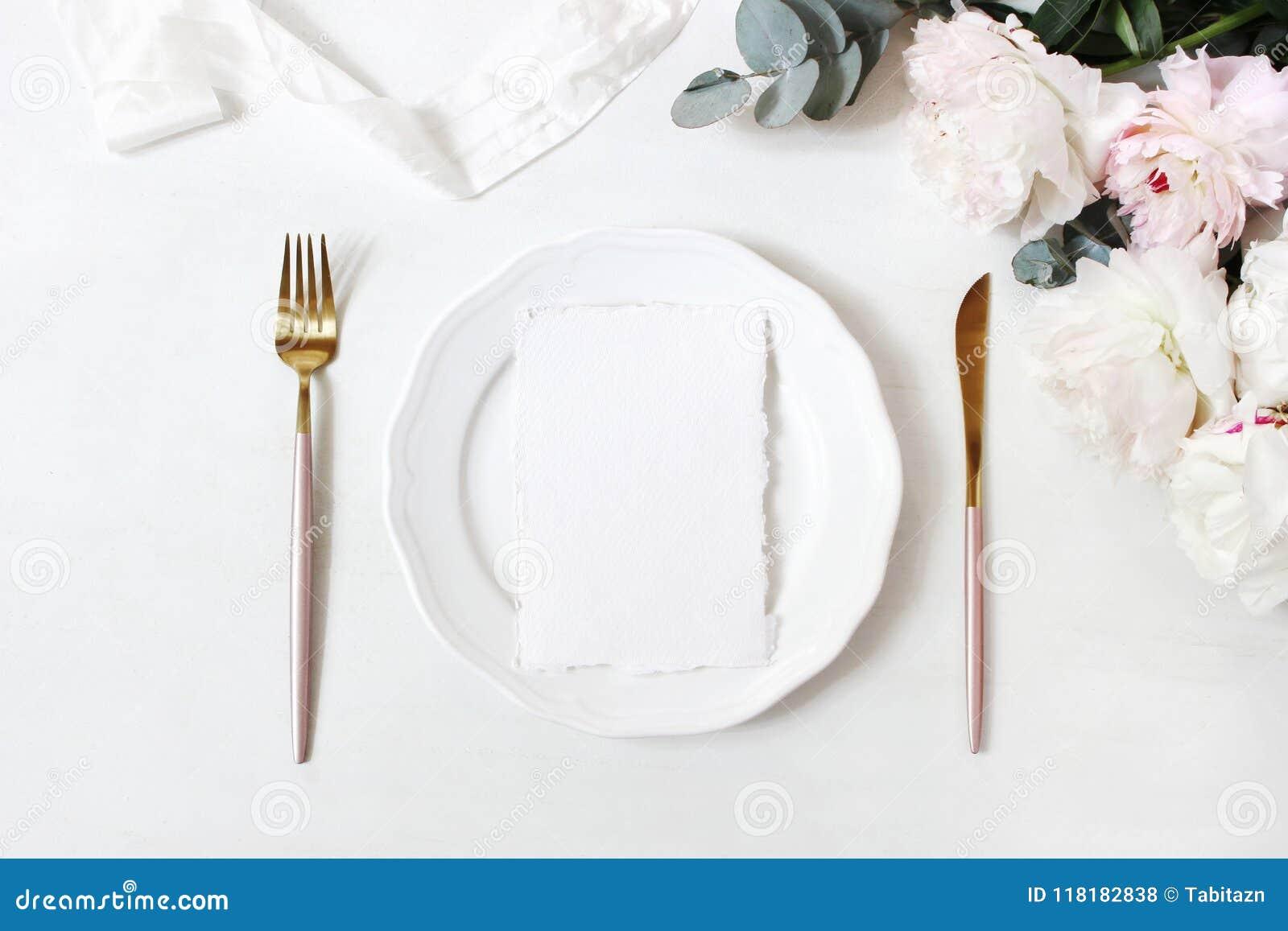 Feminine wedding, birthday desktop mock-up scene. Porcelain plate, blank craft paper greeting cards, silk ribbon, golden