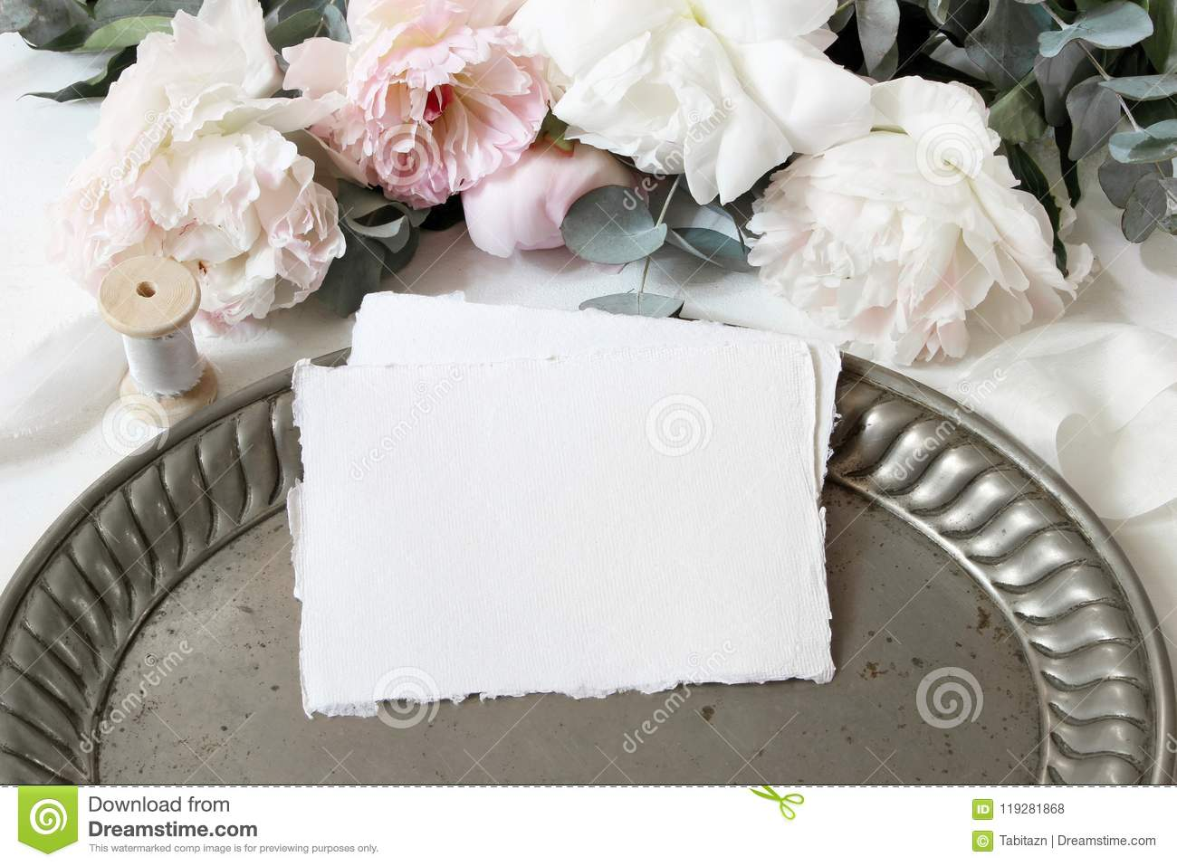 Feminine Wedding Or Birthday Table Composition With Floral Bouquet White And Pink Peonies Flowers Eucalyptus Old Stock Photo Image Of Composition Blog 119281868