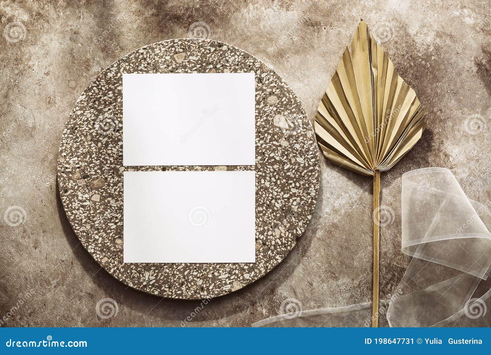 feminine wedding invitation card blank paper cards mockup