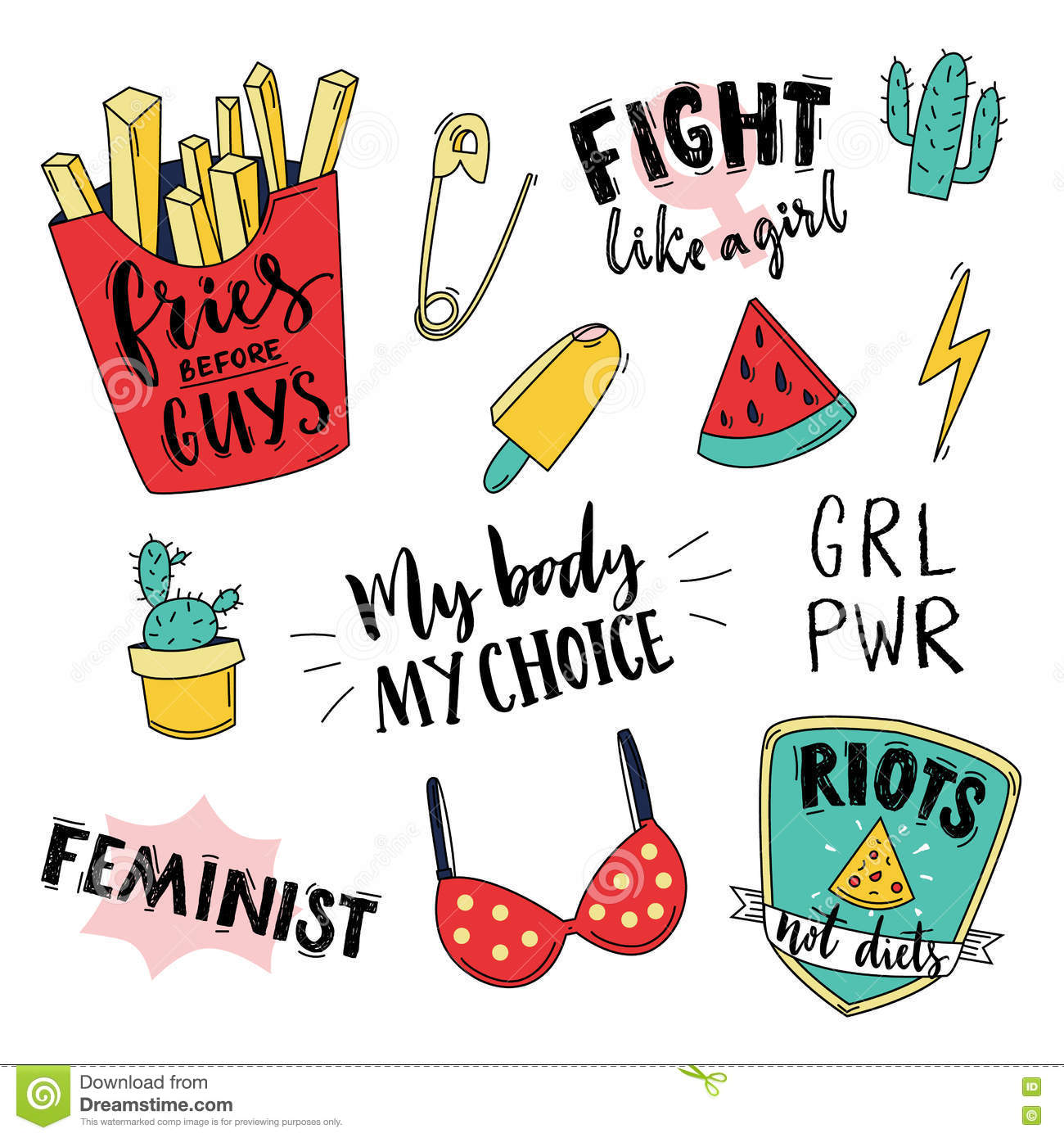 Feminism slogan and patches. Vector 80s style design. Vintage pop stickers and badges. My body, my choice. Fries before