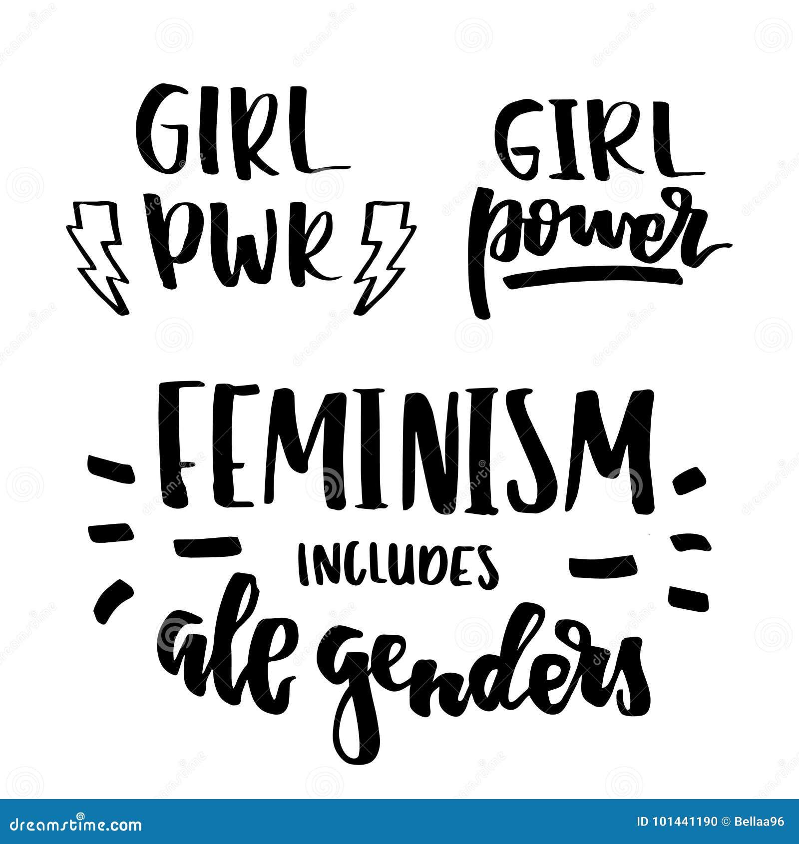 Feministische citaten die reeks van letters voorzien
