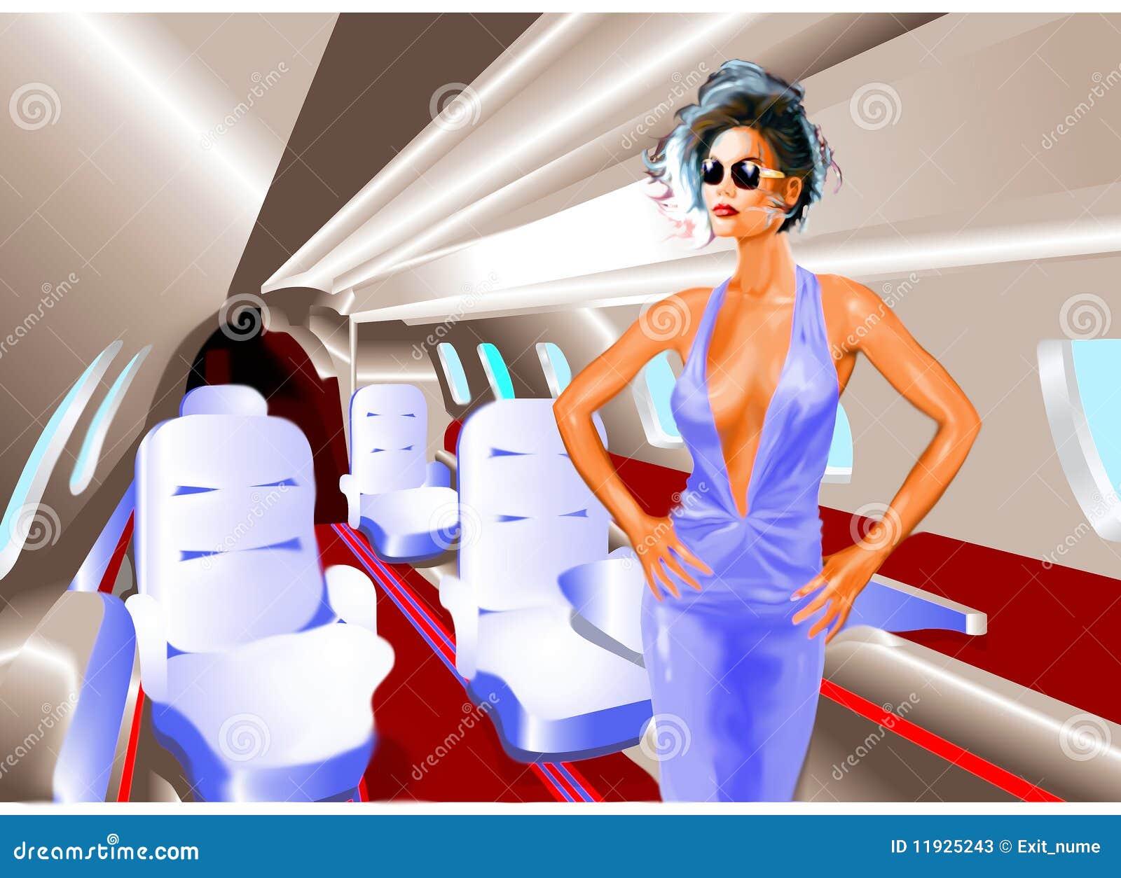 Femme élégant dans un avion à réaction privé