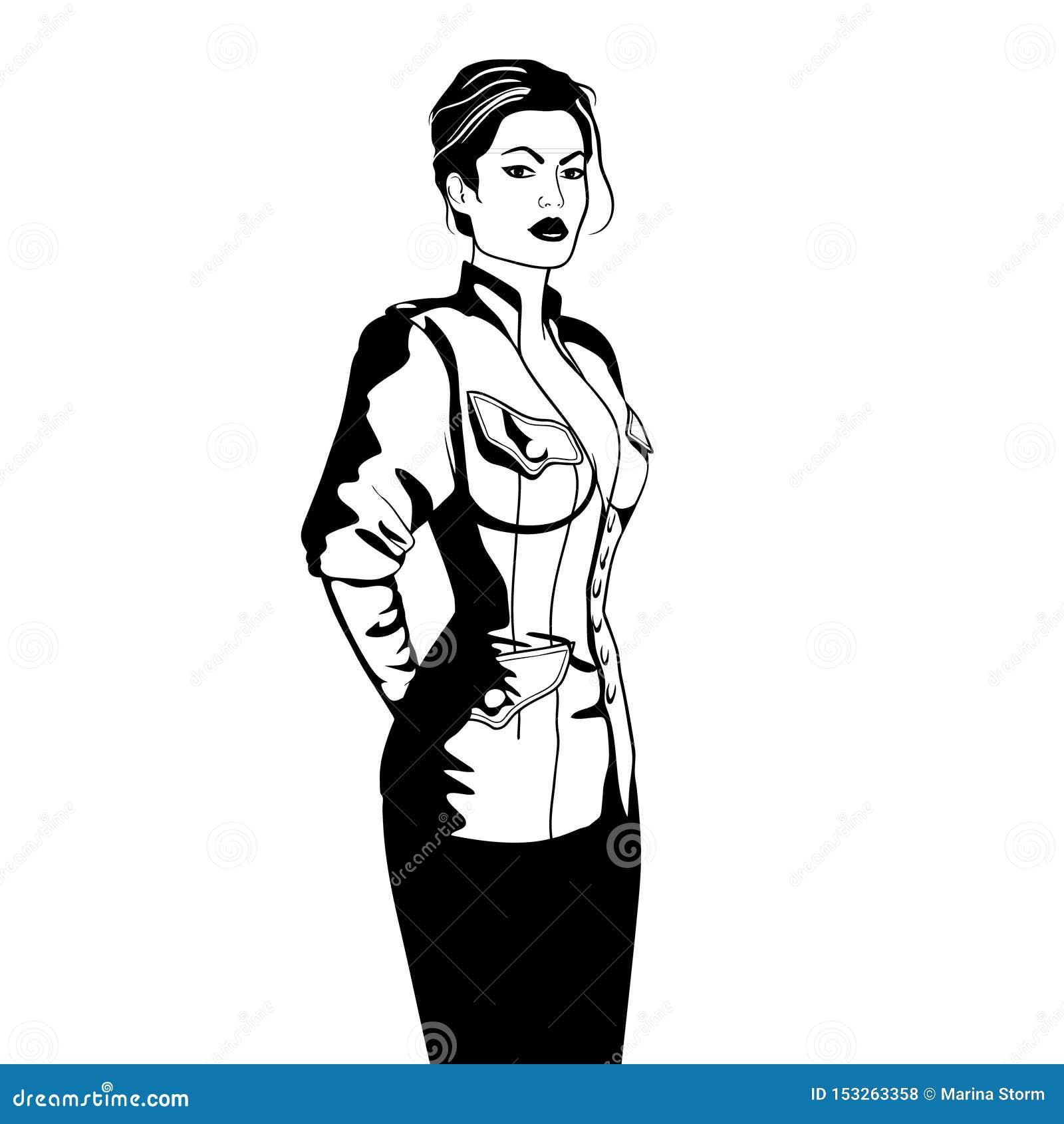 Femme élégante d affaires dans l illustrtion noir et blanc de vecteur de croquis d isolement par veste militaire de style