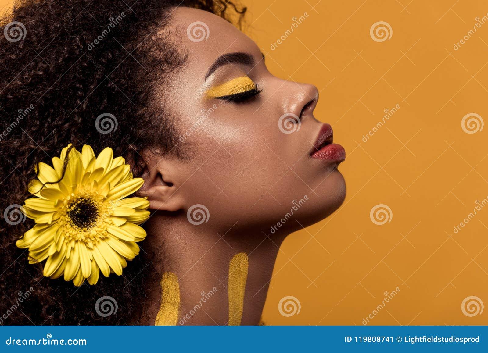 Femme élégante d afro-américain avec le maquillage artistique et gerbera dans rêver de cheveux