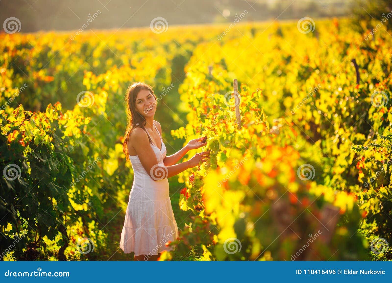 Femme élégante de sourire en nature Joie et bonheur Femelle sereine dans le domaine de raisin de cuve dans le coucher du soleil C