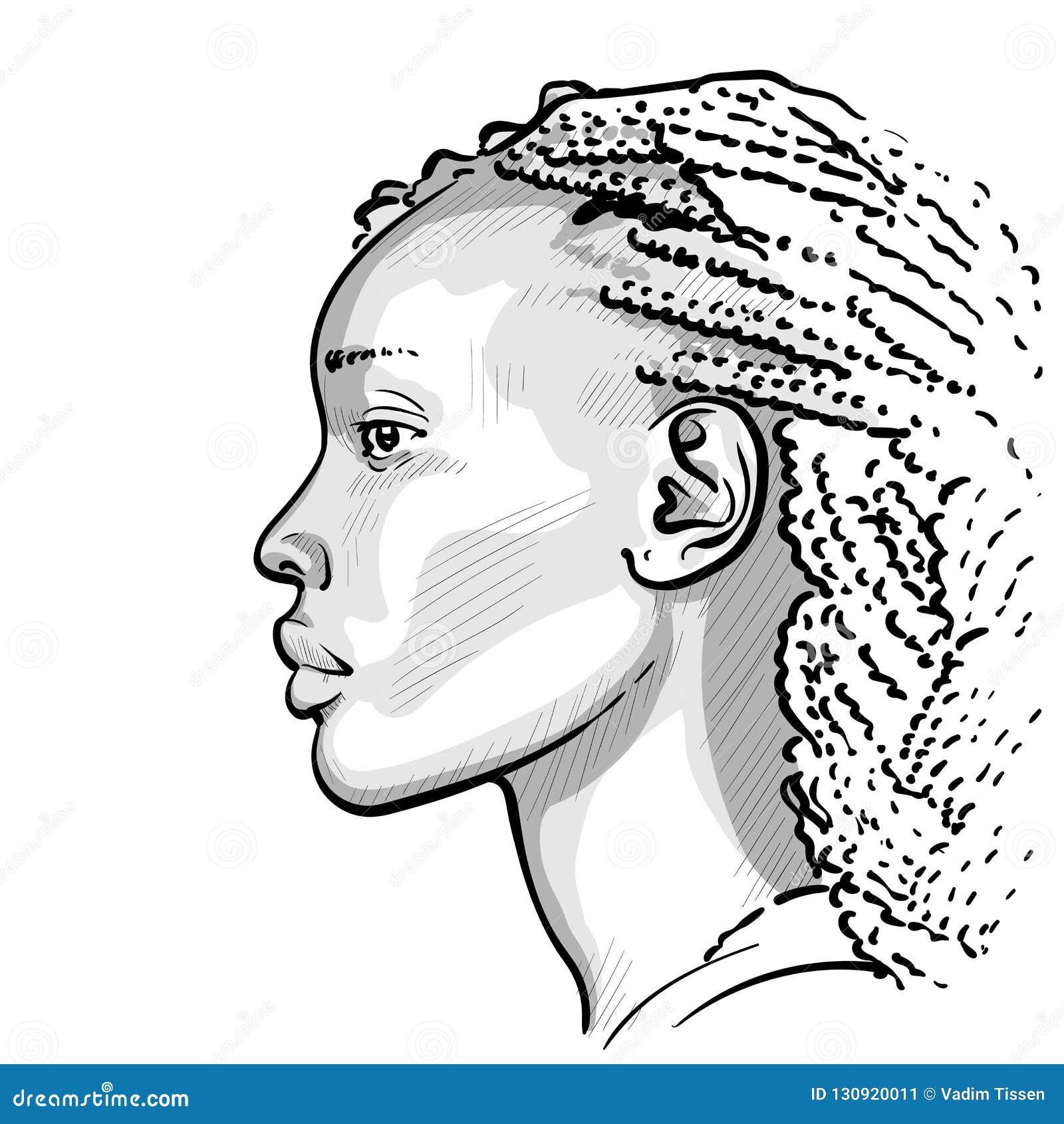 Dessin De Femme Africaine femme africaine avec des dreadlocks vecteur de dessin de main de