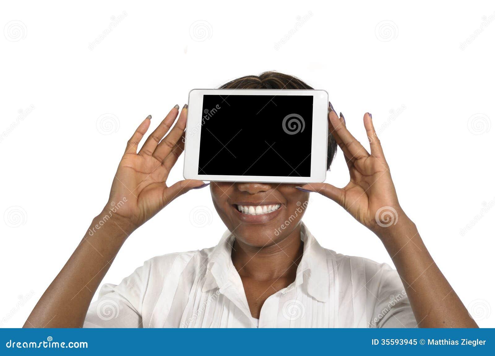 femme africaine d u0026 39 affaires avec la tablette  l u0026 39 espace d u0026 39 exemplaire gratuit photo libre de droits