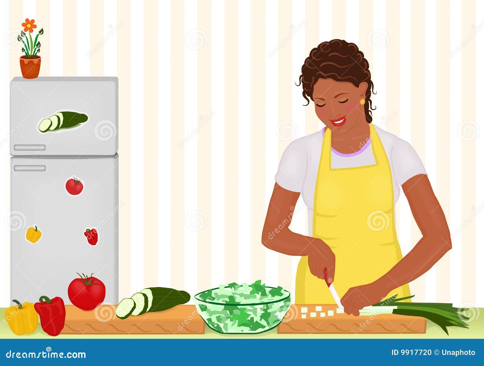 Femme africaine faisant cuire la salade dans la cuisine - Couple faisant l amour dans la cuisine ...