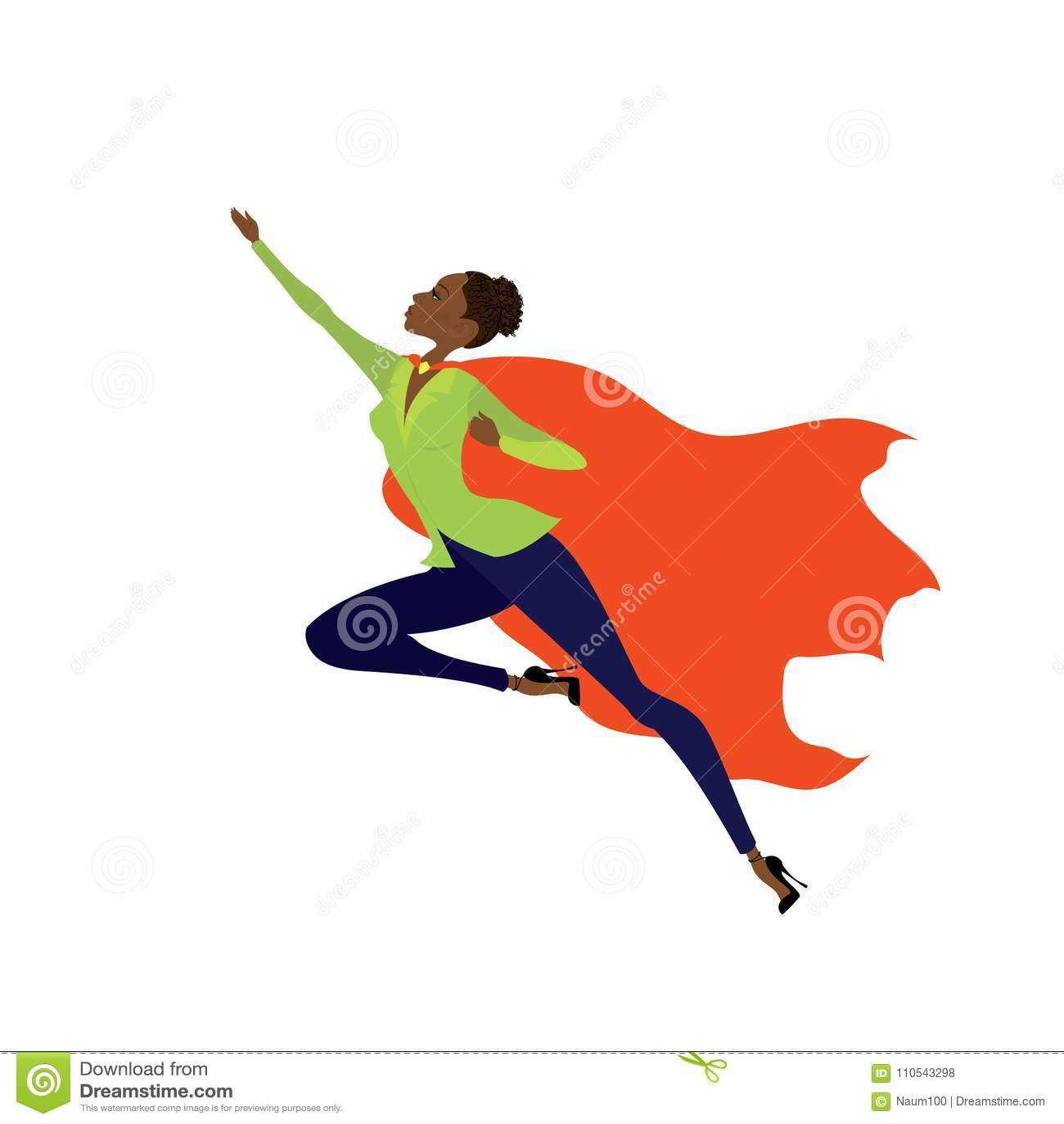 Femme amercan africaine de superhéros dans la mouche