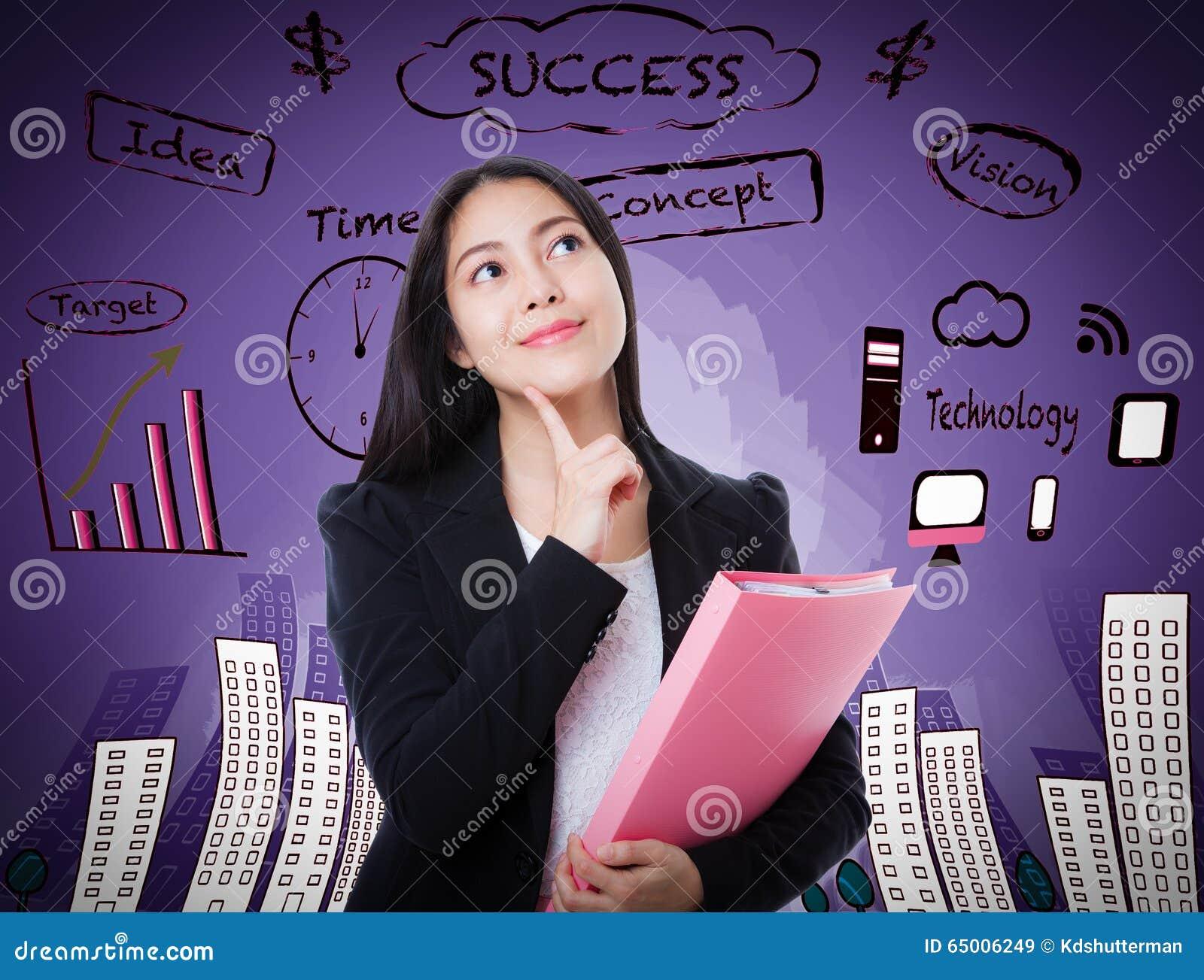 Femme asiatique pensant beaucoup d idées sur le fond d affaires